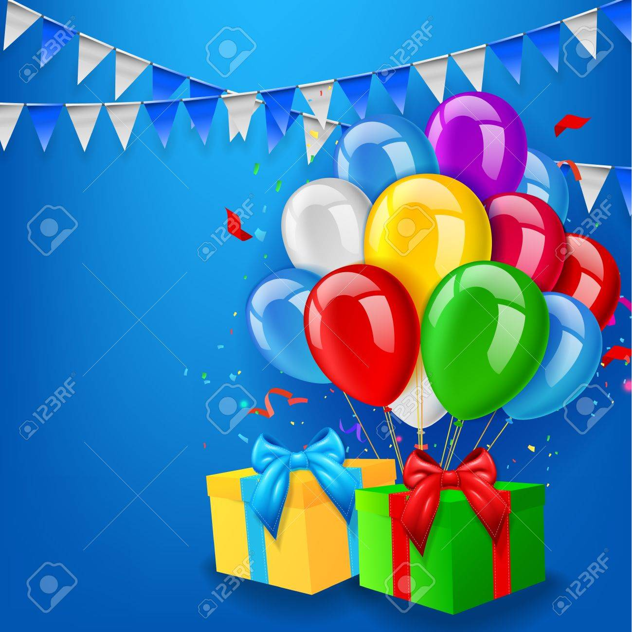 Birthday background with balloons, gift and confetti - 45492047
