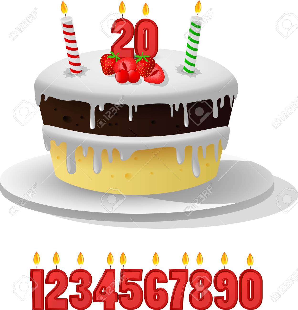 Birthday Cake With Candles Anniversarry 2 Stock Vector