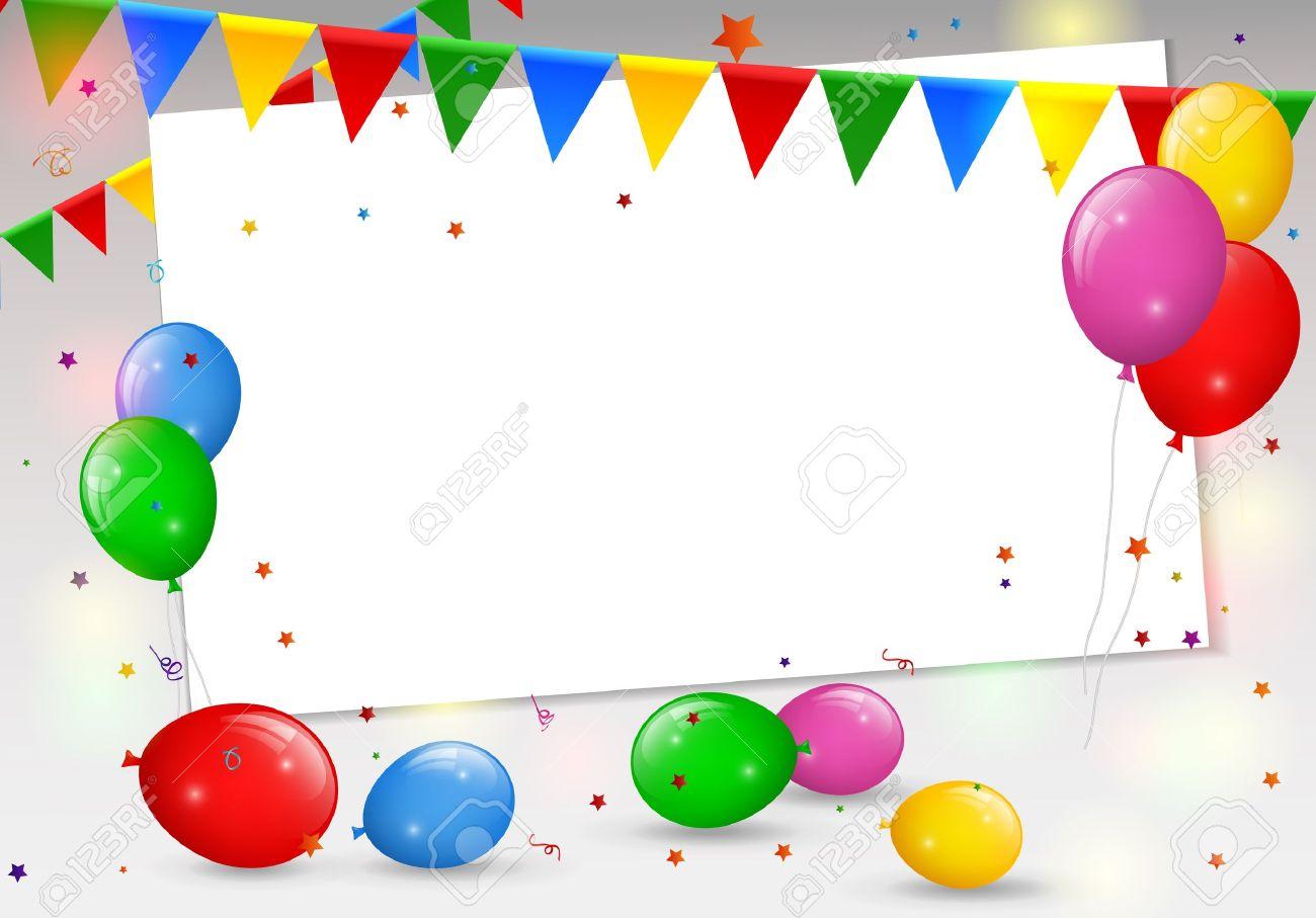 Carte D Anniversaire Avec Des Ballons Colores Clip Art Libres De