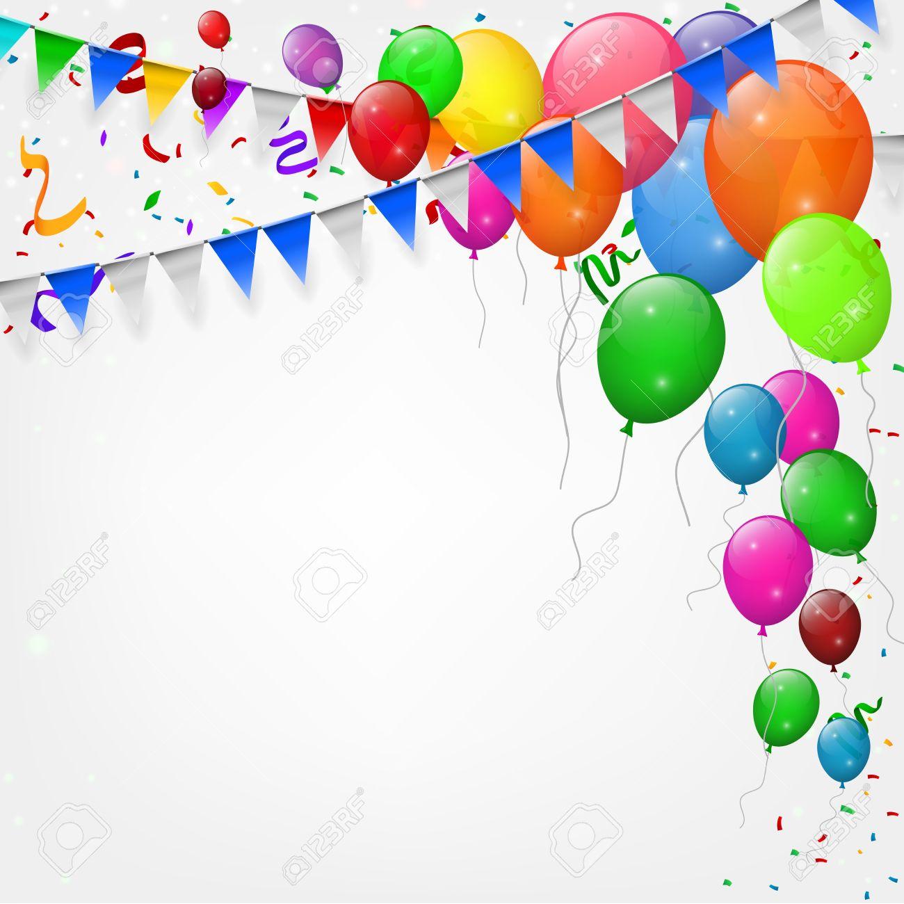 Alles Gute Zum Geburtstag Party Mit Luftballons Und Bändern
