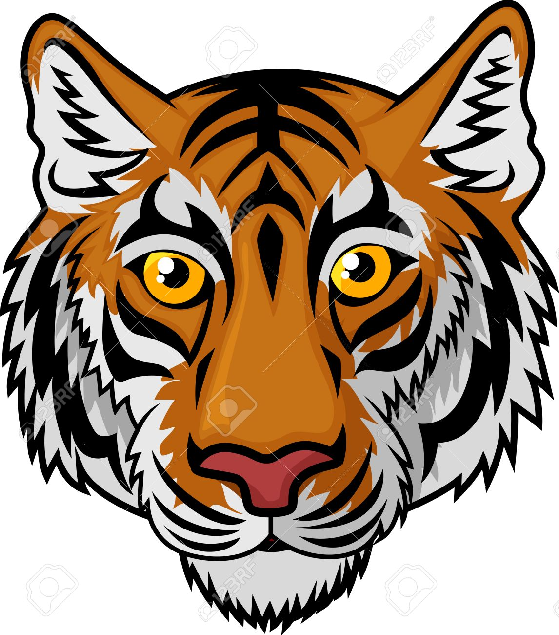 tiger head mascot team sport cartoon royalty free cliparts vectors rh 123rf com cartoon tiger face easy cartoon tiger face pictures