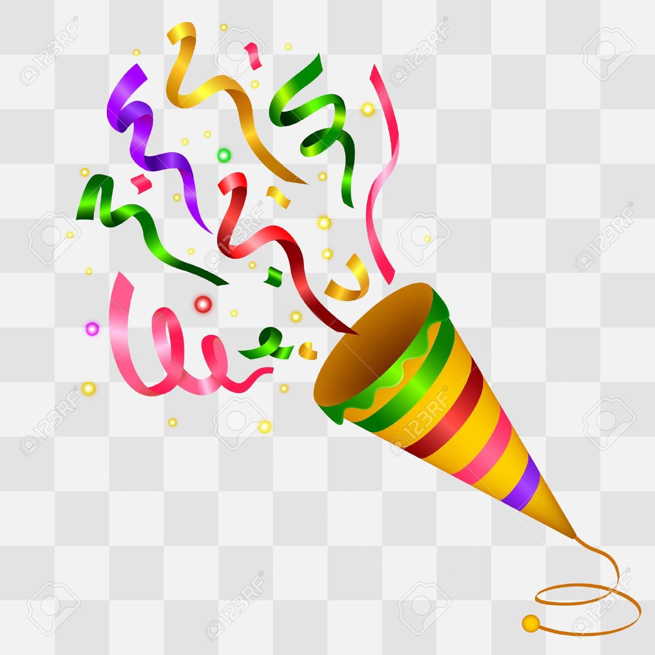 Exploding Colorful Confetti Popper on transparency background - 51102832