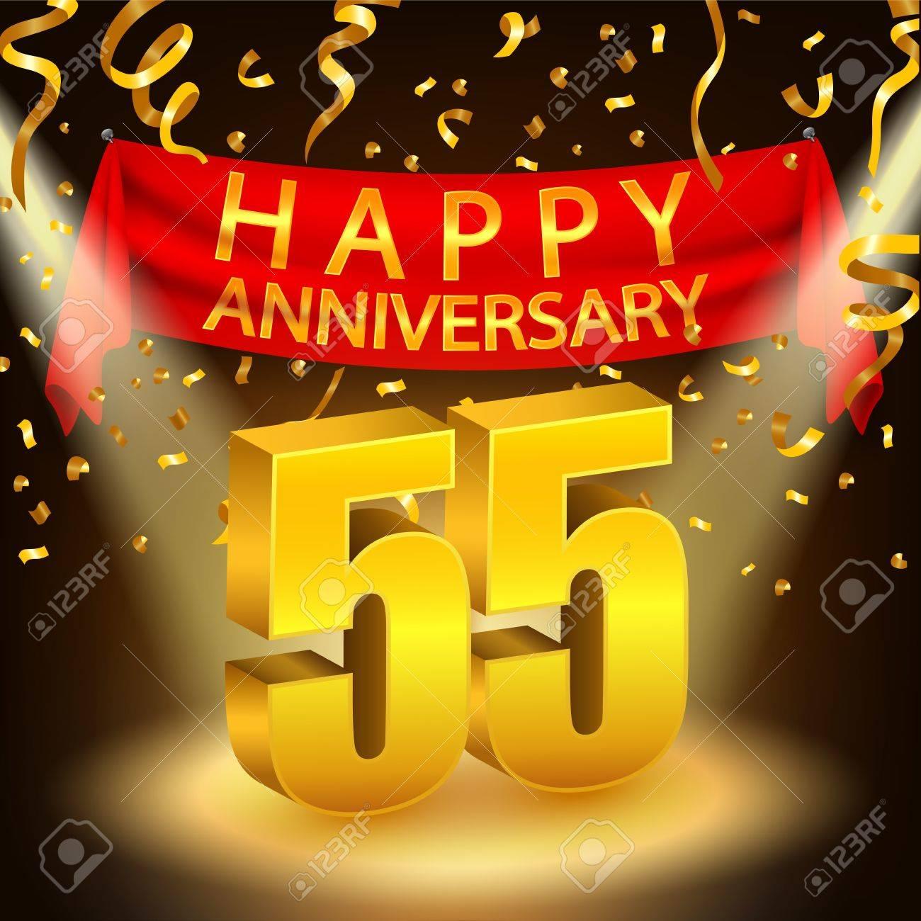 Happy 55th Anniversary Celebration With Golden Confetti And Spotlight Stock Vector