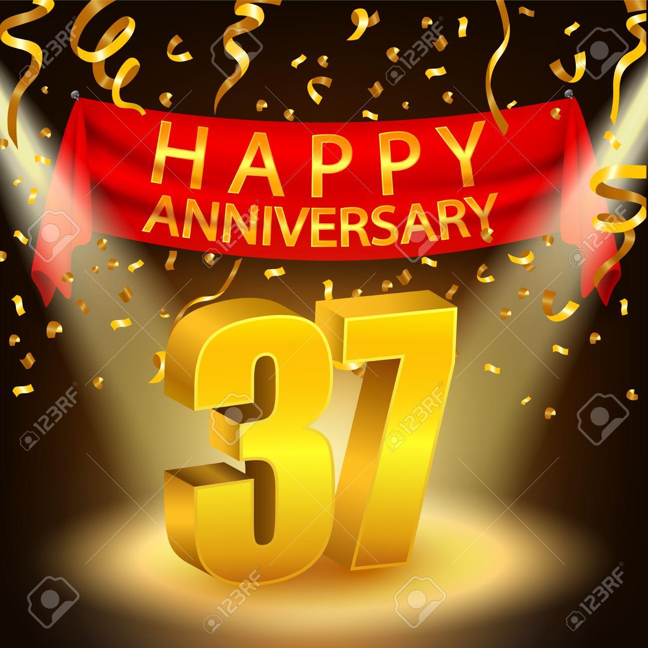 Happy 37th Anniversary Celebration With Golden Confetti And