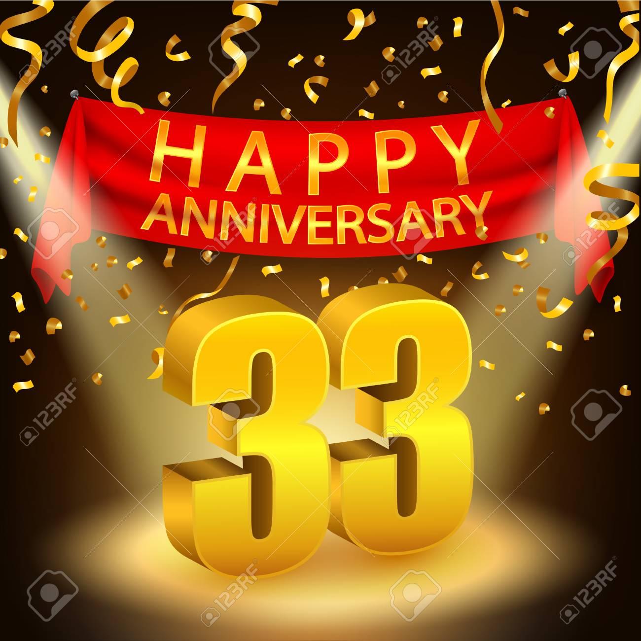 Anniversario Matrimonio 33 Anni.Vettoriale Felice Celebrazione 33 Anniversario Con Coriandoli