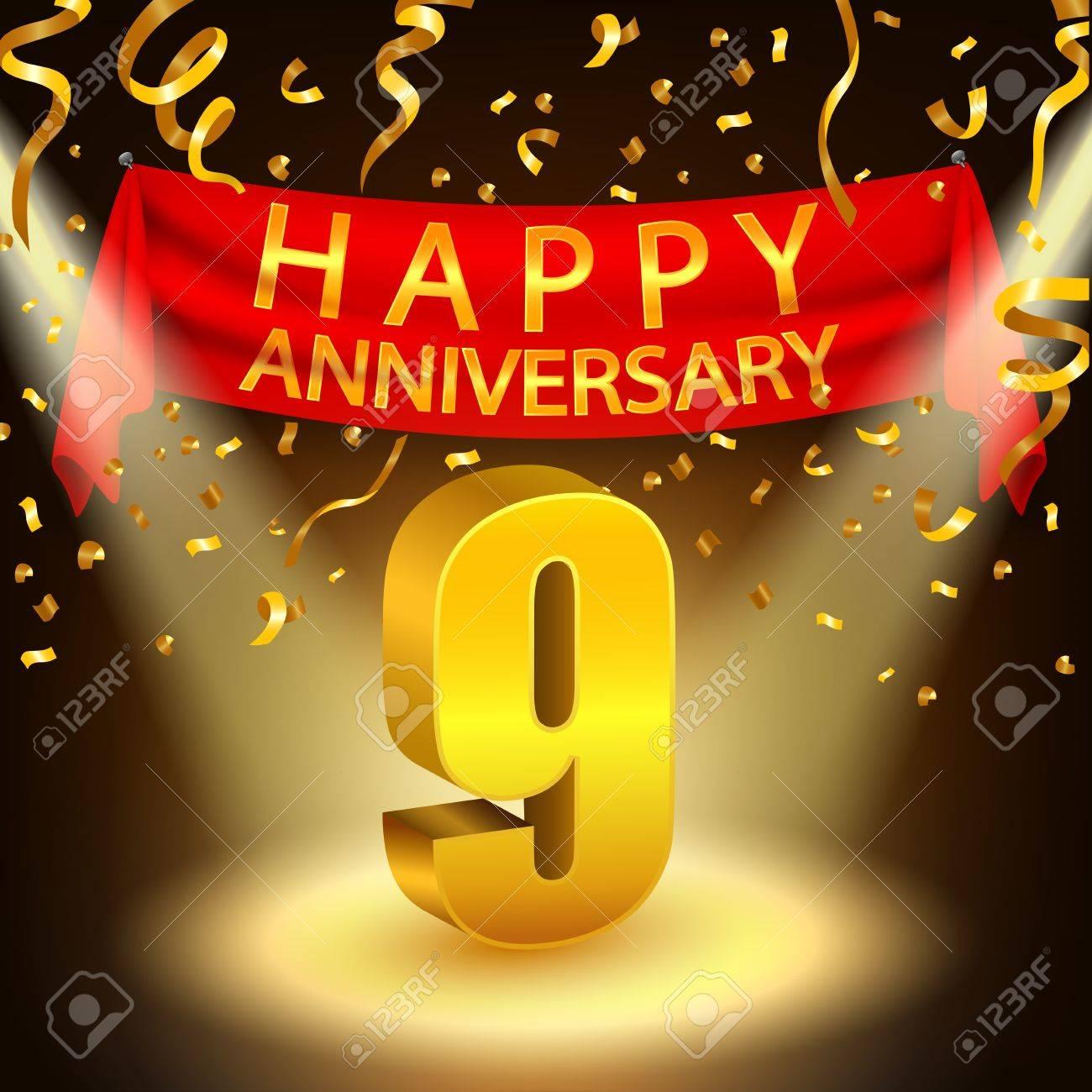 Happy 9th Anniversary Celebration With Golden Confetti And Spotlight