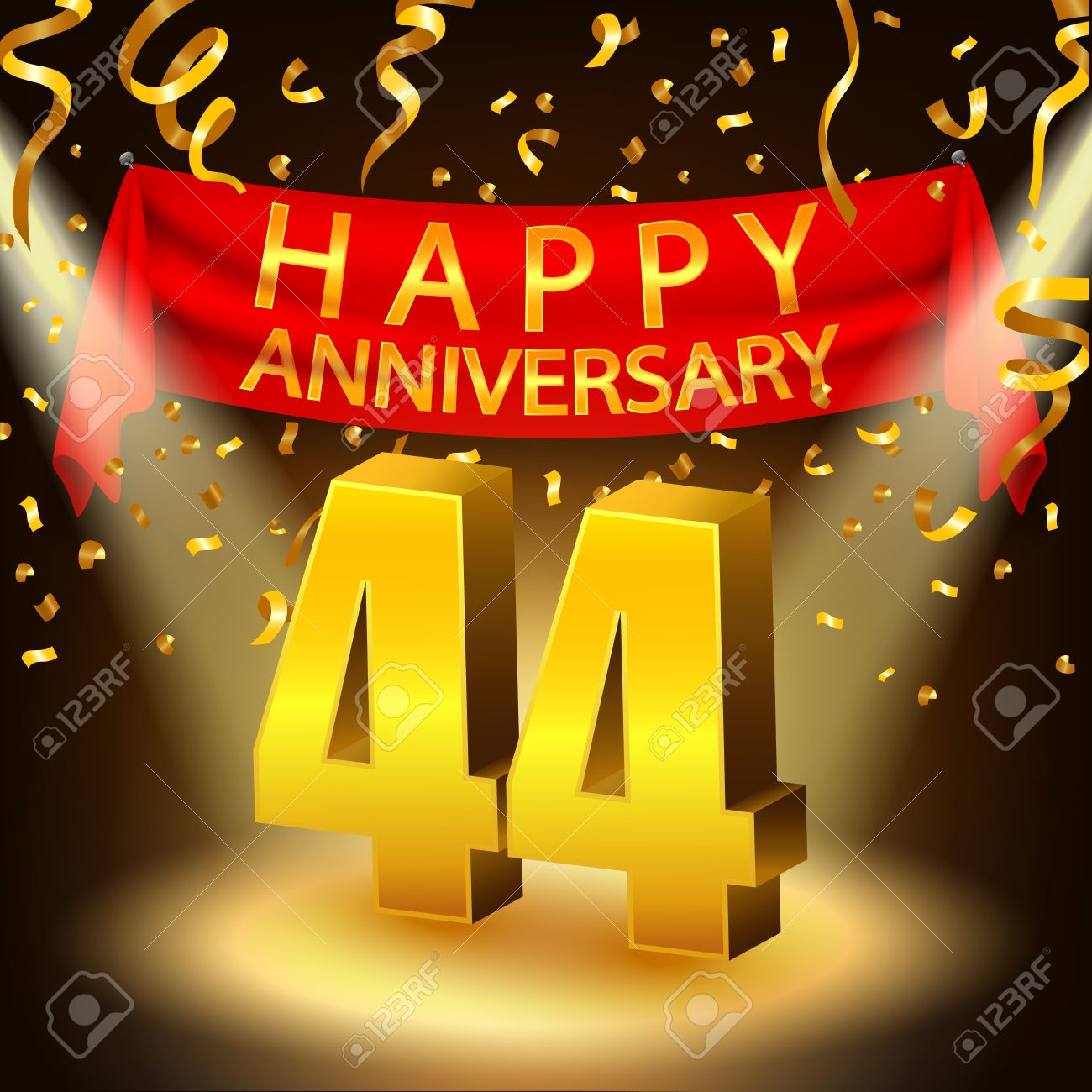 Happy 44th anniversary celebration with golden confetti and happy 44th anniversary celebration with golden confetti and spotlight stock vector 49921629 biocorpaavc Gallery