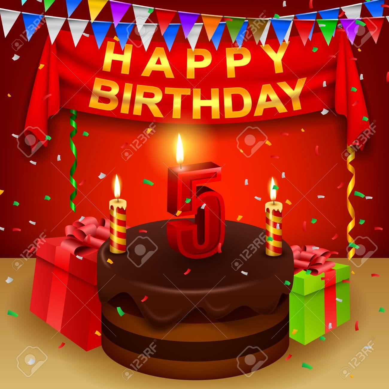 Glucklicher 5 Geburtstag Mit Schokoladencremekuchen Und Dreieckiger