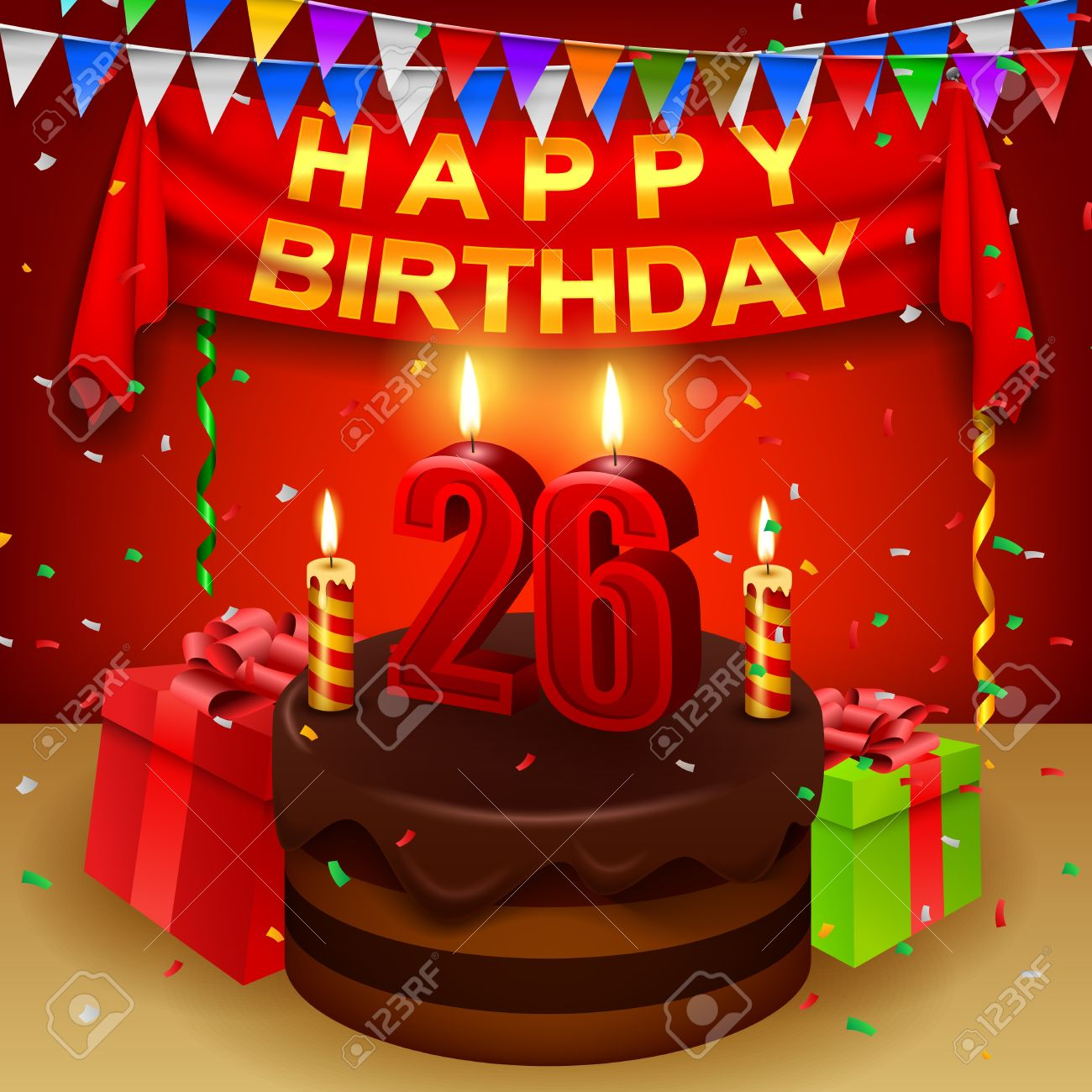 happy 26th birthday with chocolate cream cake and triangular flag stock vector 53648255