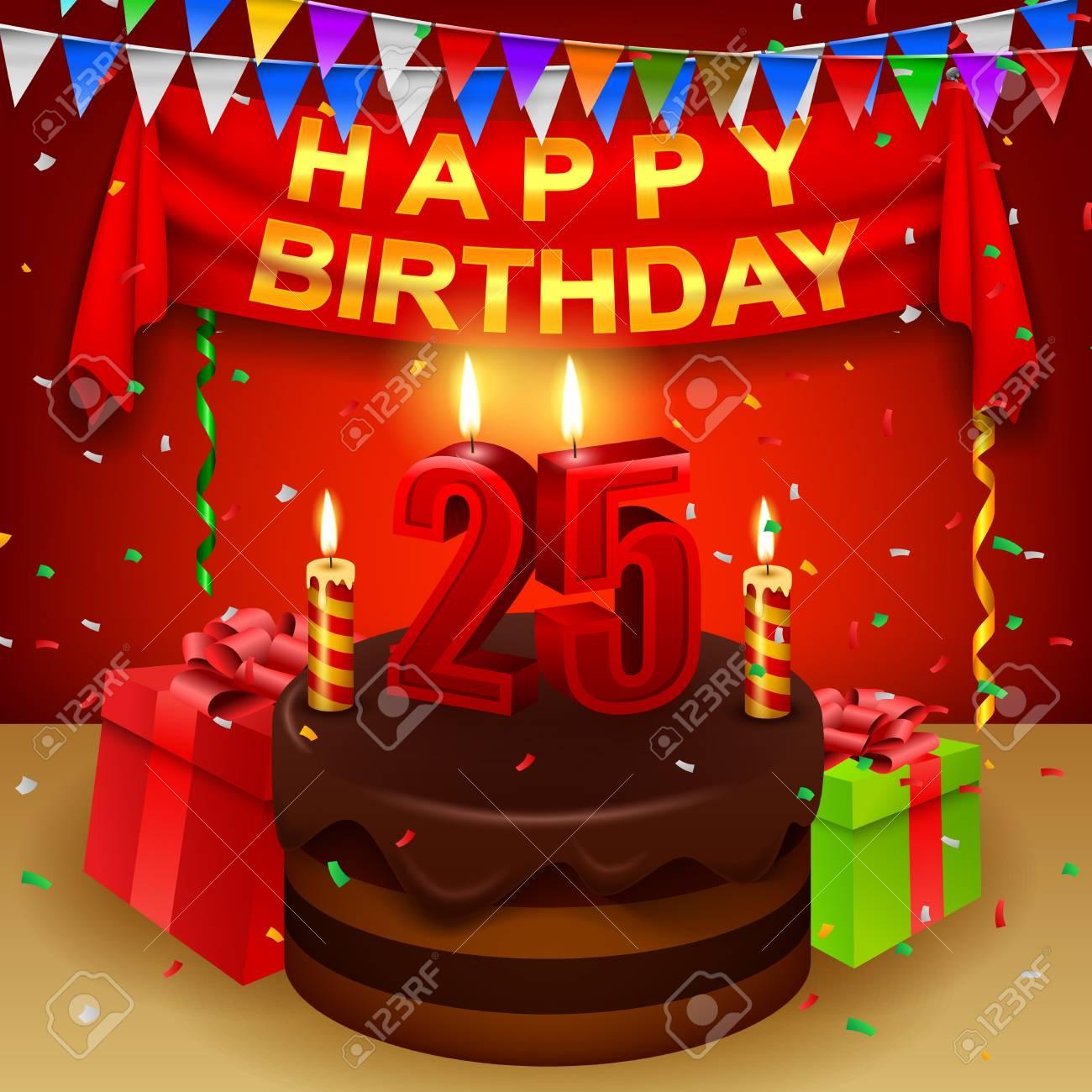 Happy 25th Birthday With Chocolate Cream Cake And Triangular