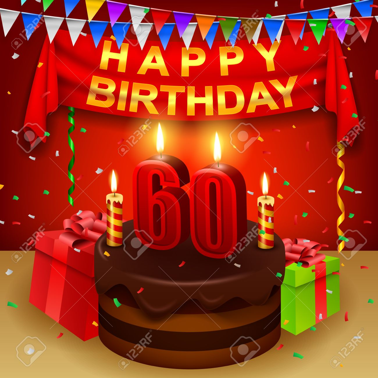 Happy 60th Birthday With Chocolate Cream Cake And Triangular Flag Stock Vector