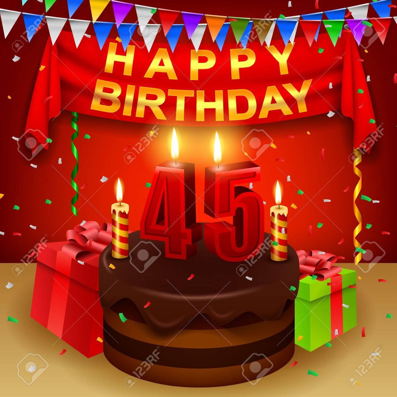 Glucklicher 45 Geburtstag Mit Schokoladencreme Kuchen Und Dreiecks