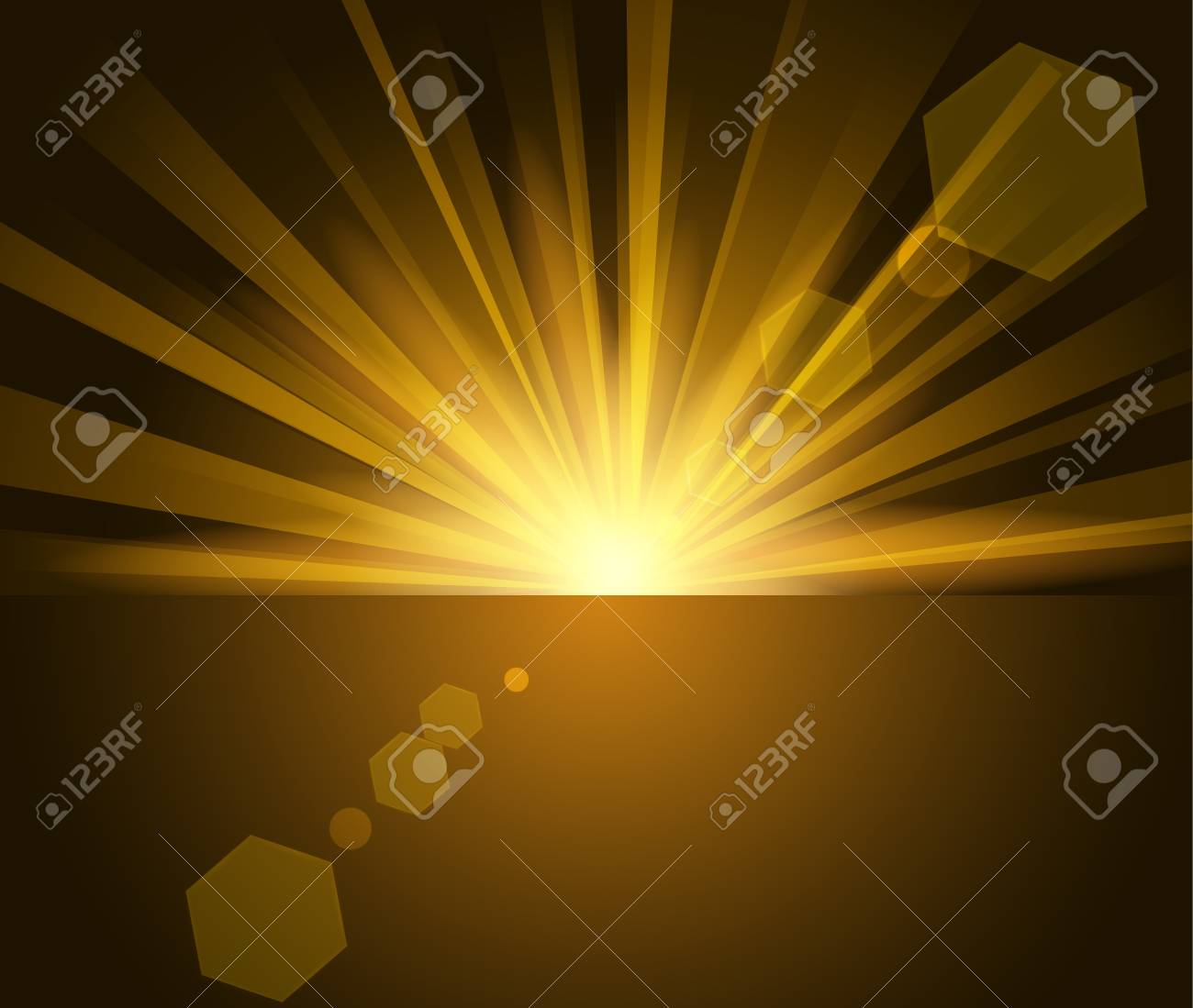 golden rays rising from horizon in dark background stock vector 61611095