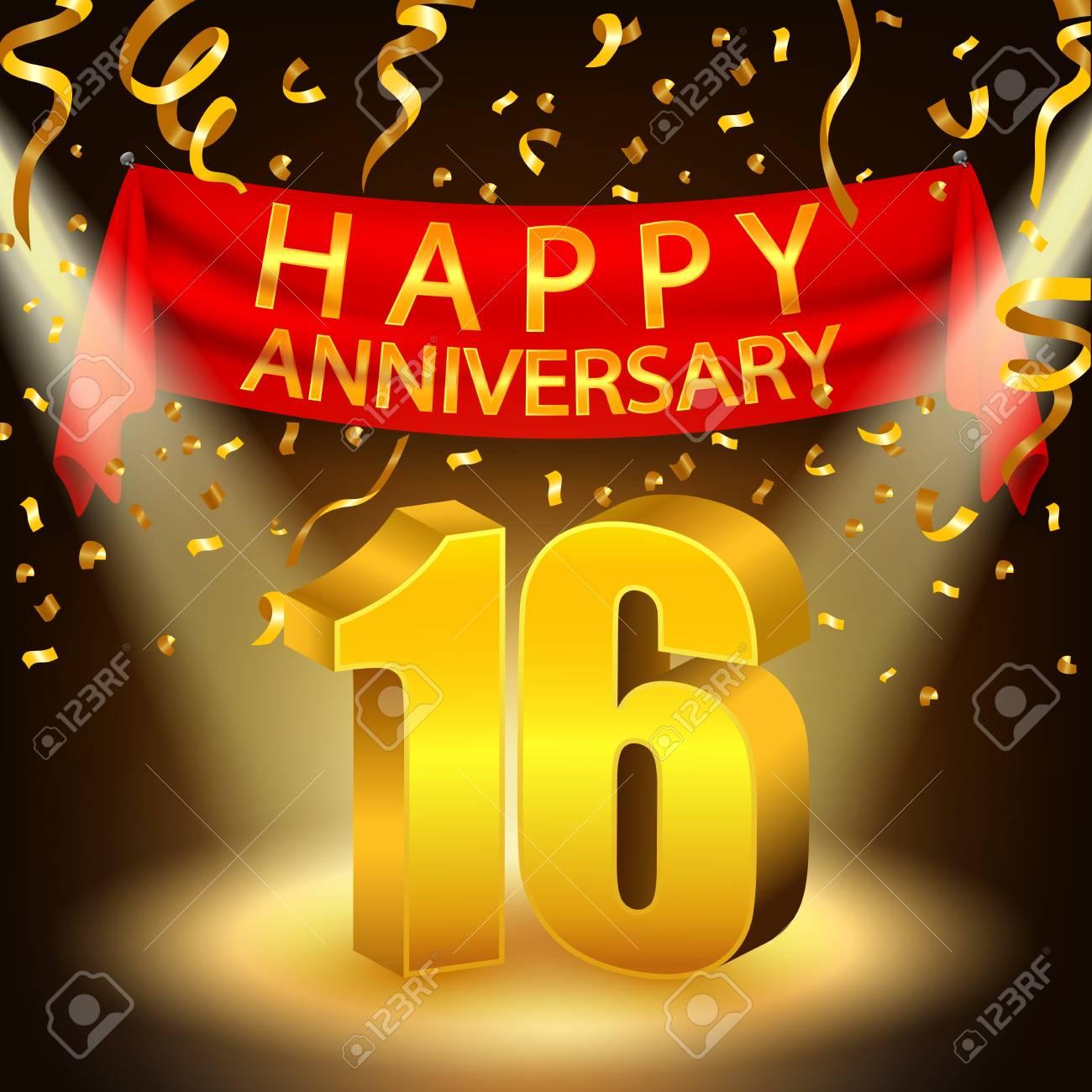Happy 16th Anniversary Celebration With Golden Confetti And
