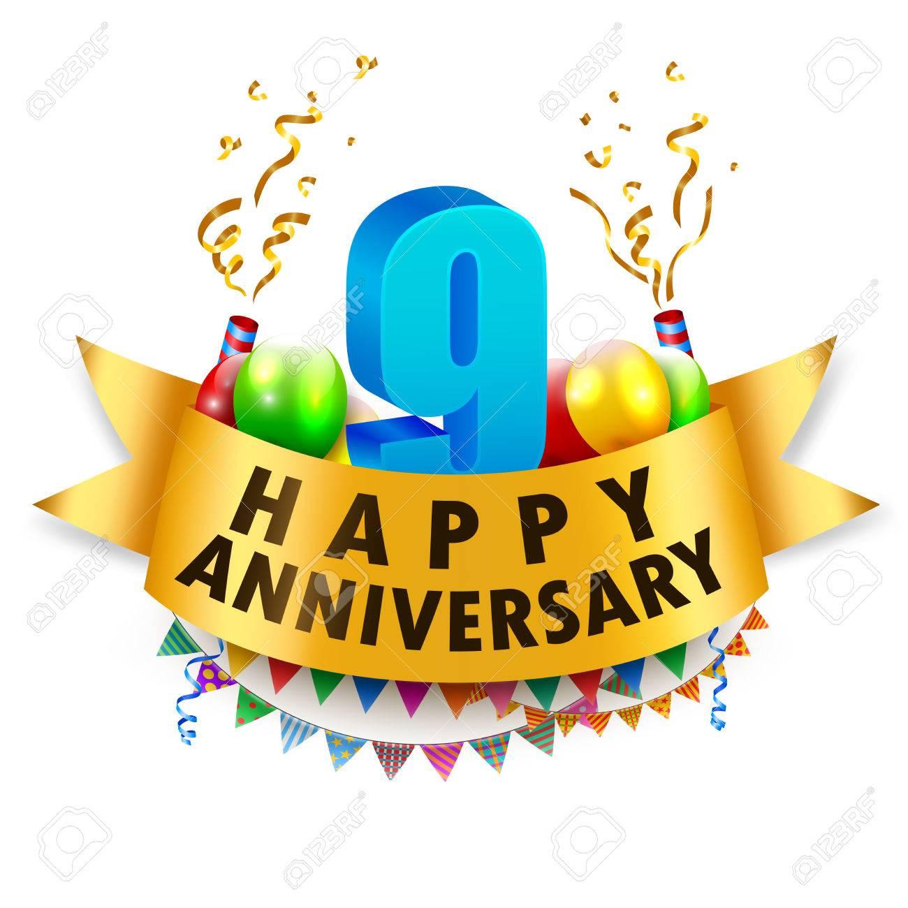 Happy 9th Anniversary Celebration Royalty Free Cliparts Vectors