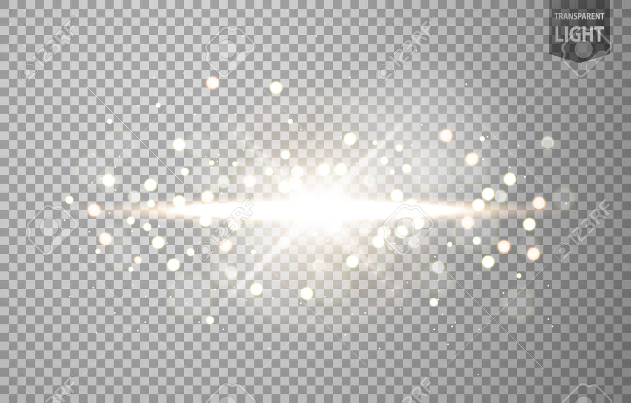 Abstract sun shines with lens flare and blur in motion glow glare. isolated on transparent background. Vector Illustration - 150728392