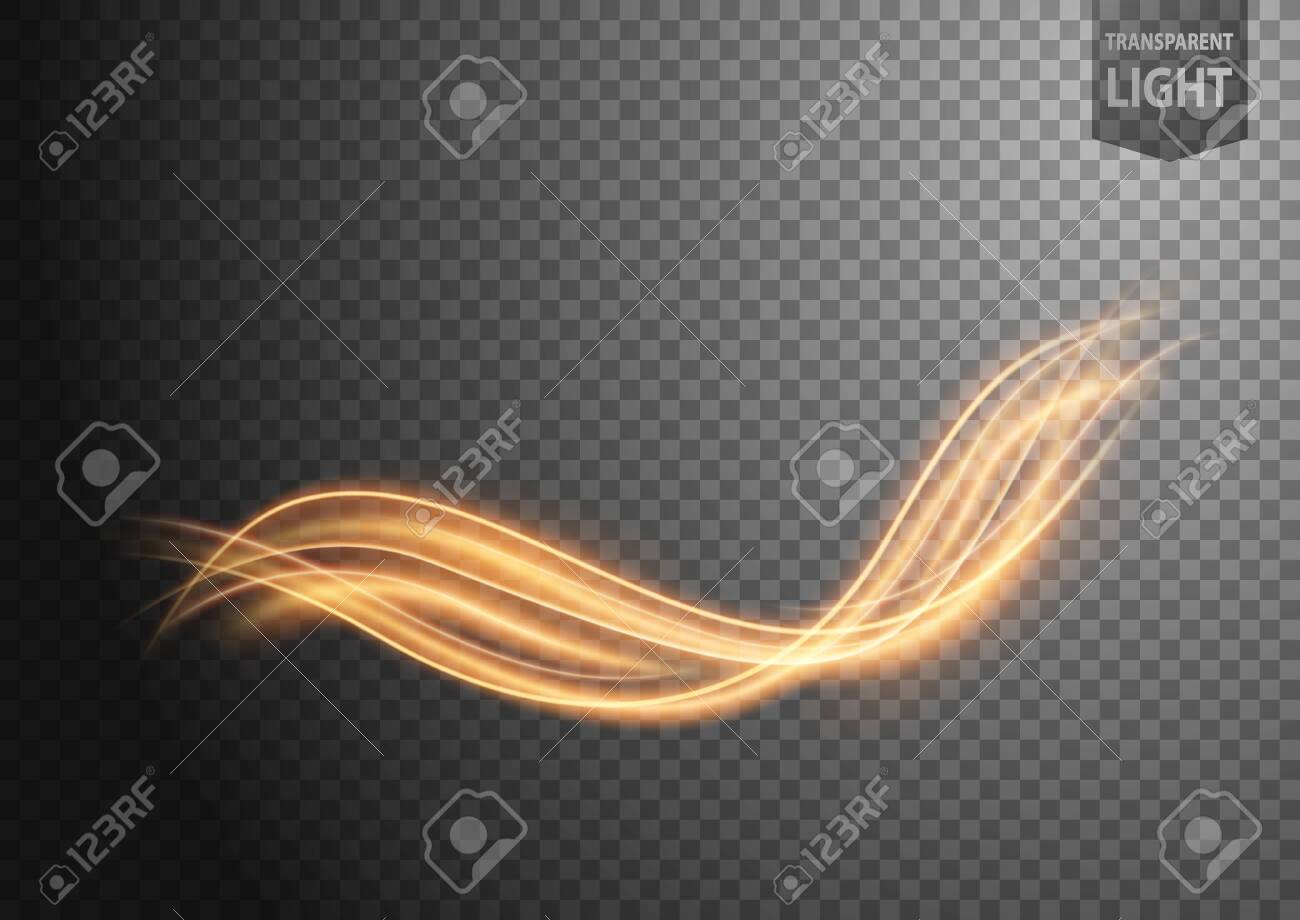 Abstract gold wavy line of light with a transparent background, isolated and easy to edit. Vector Illustration - 150728397