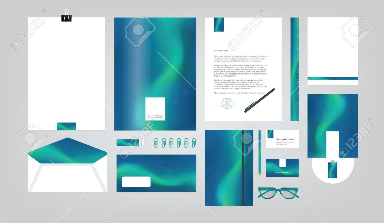 Company Style For Brand Book And Guideline. Folder, Pen, Envelope ...