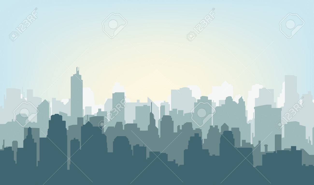 Morning city silhouette. Silhouette of the city at sunrise - 50998959