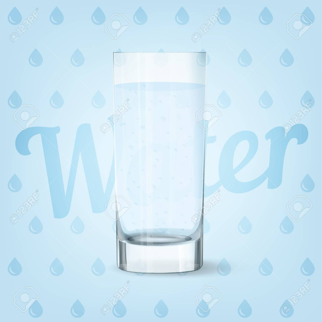 Vector image of fresh cool glass of water - 84037577