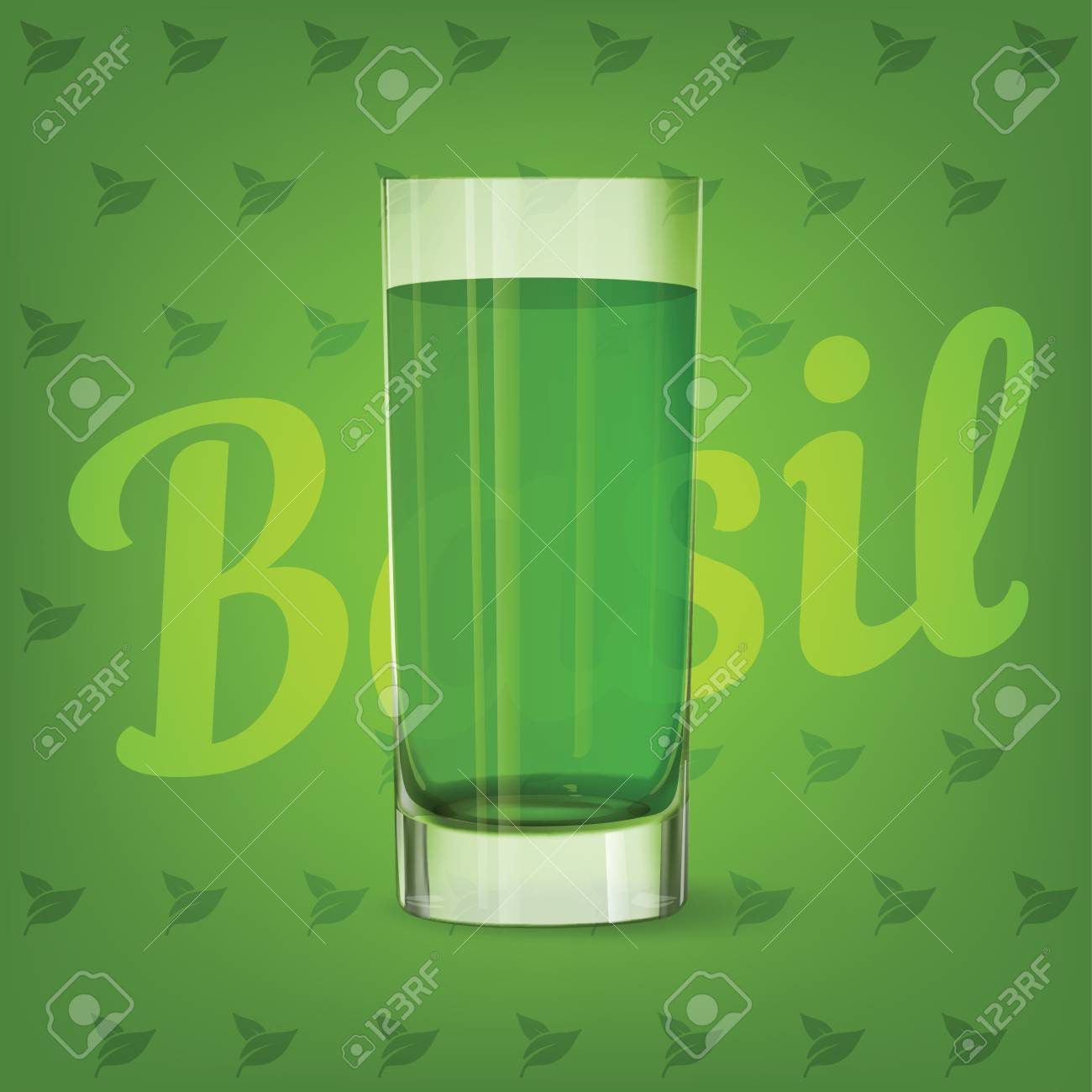 Vector image of fresh fruit green glass of basil juice - 84037574