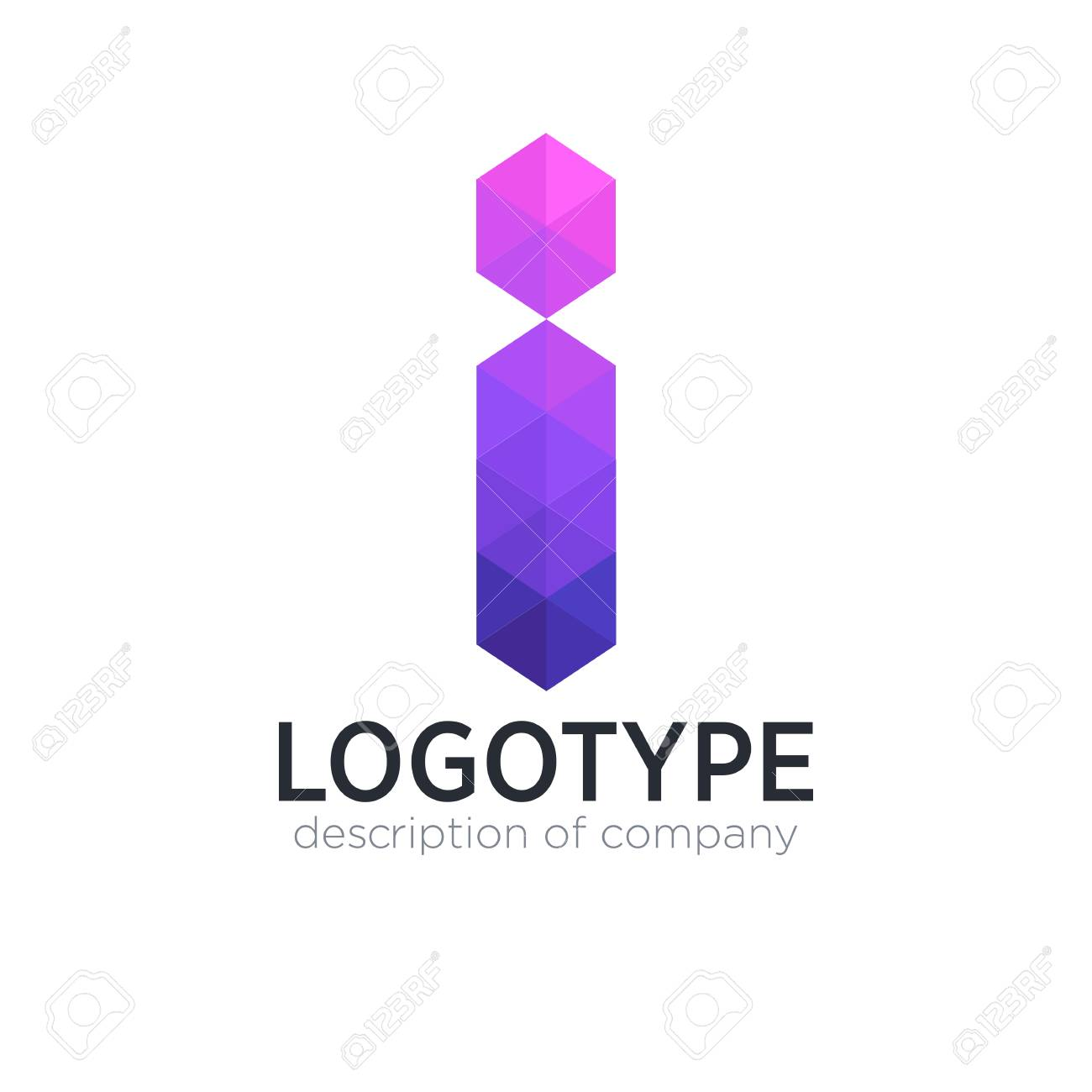Abstract trend polygon letter I logo design template. - 83887448