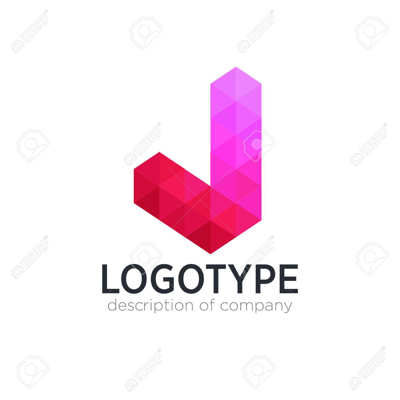 Abstract trend polygon letter J logo design template. - 83890921