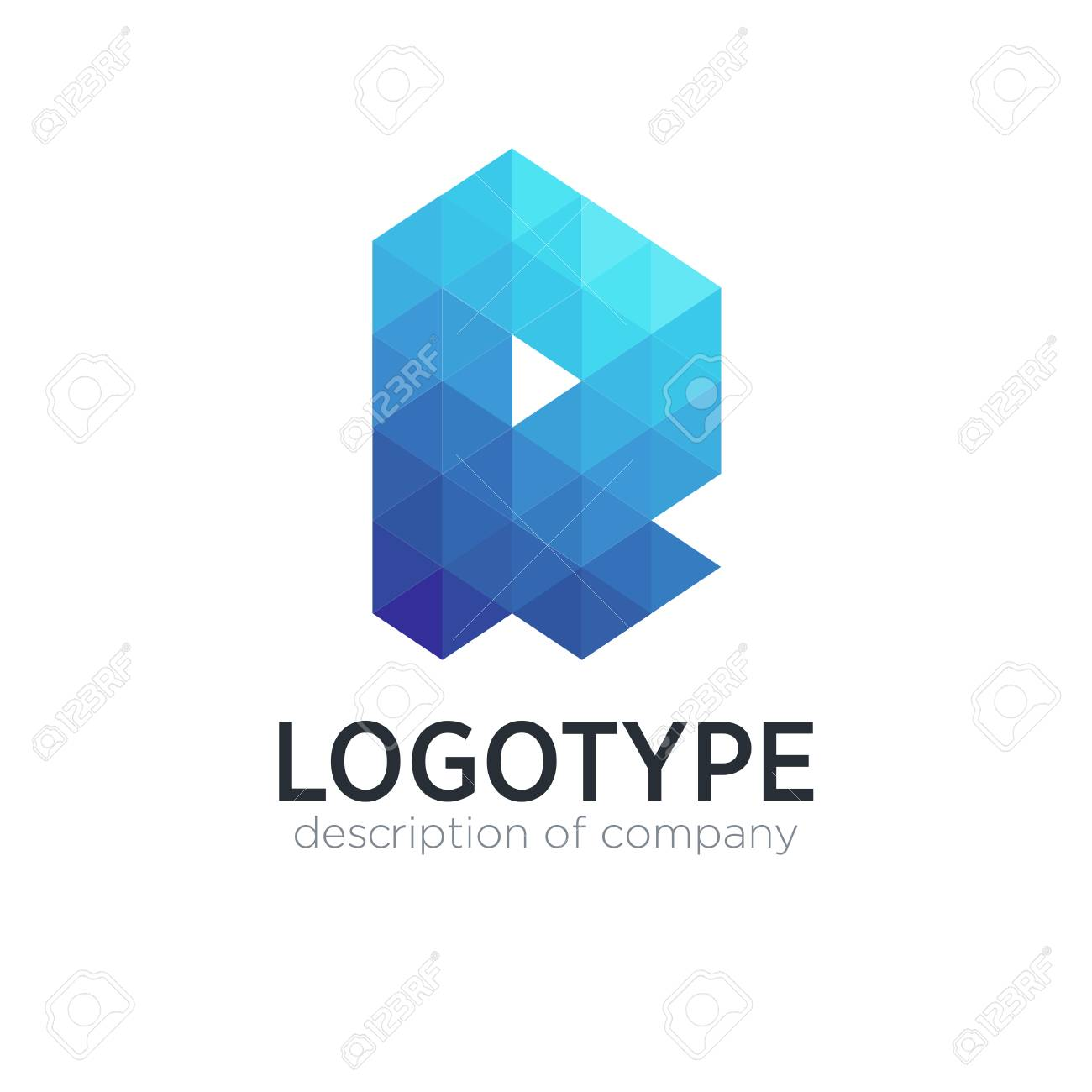Abstract trend polygon letter R logo design template. - 83887449