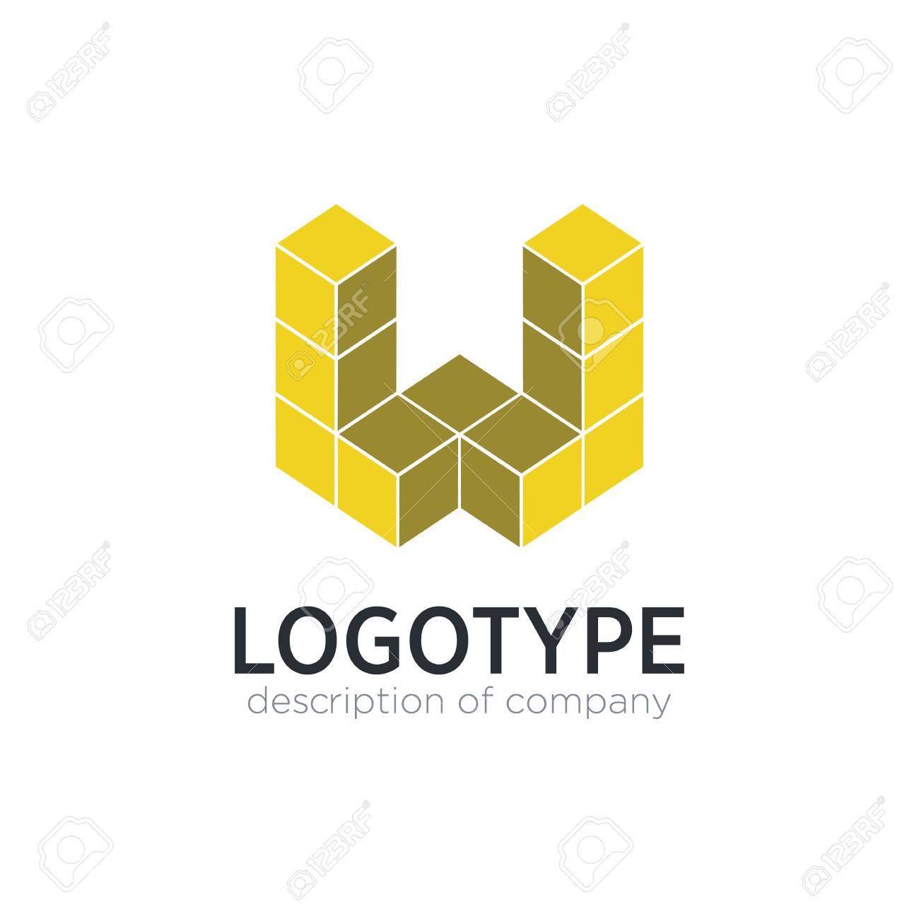 Letter W cube figure logo icon design template elements - 83859819