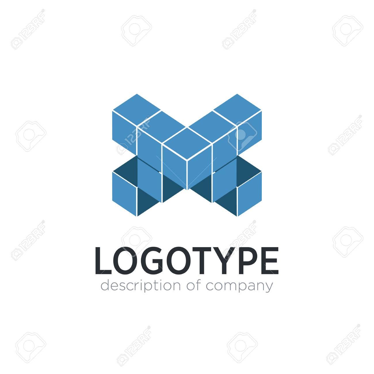 Letter X cube figure logo icon design template elements - 83859821