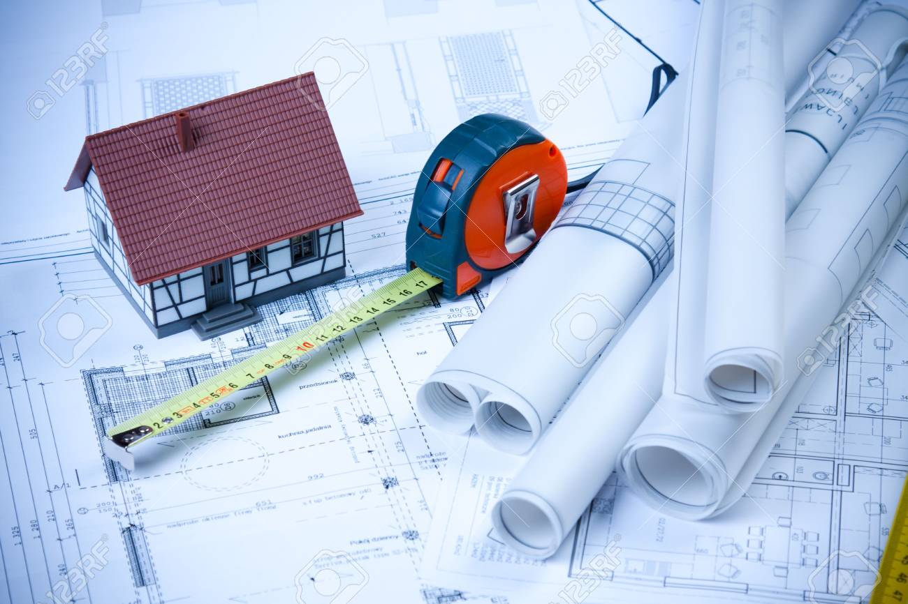 Plans, home and ruller Stock Photo - 6303346