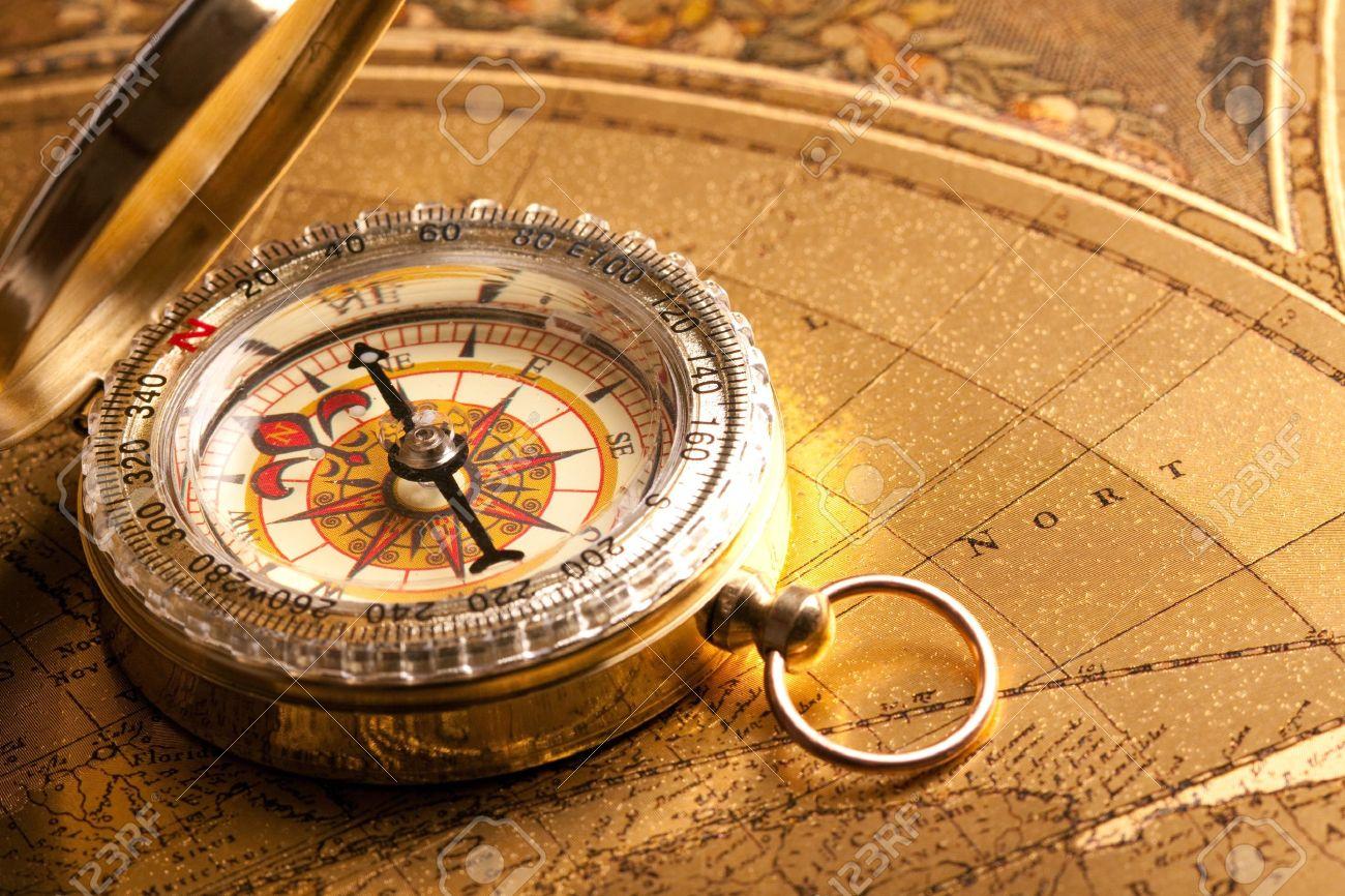 Gold Compass Closeup - 7122273