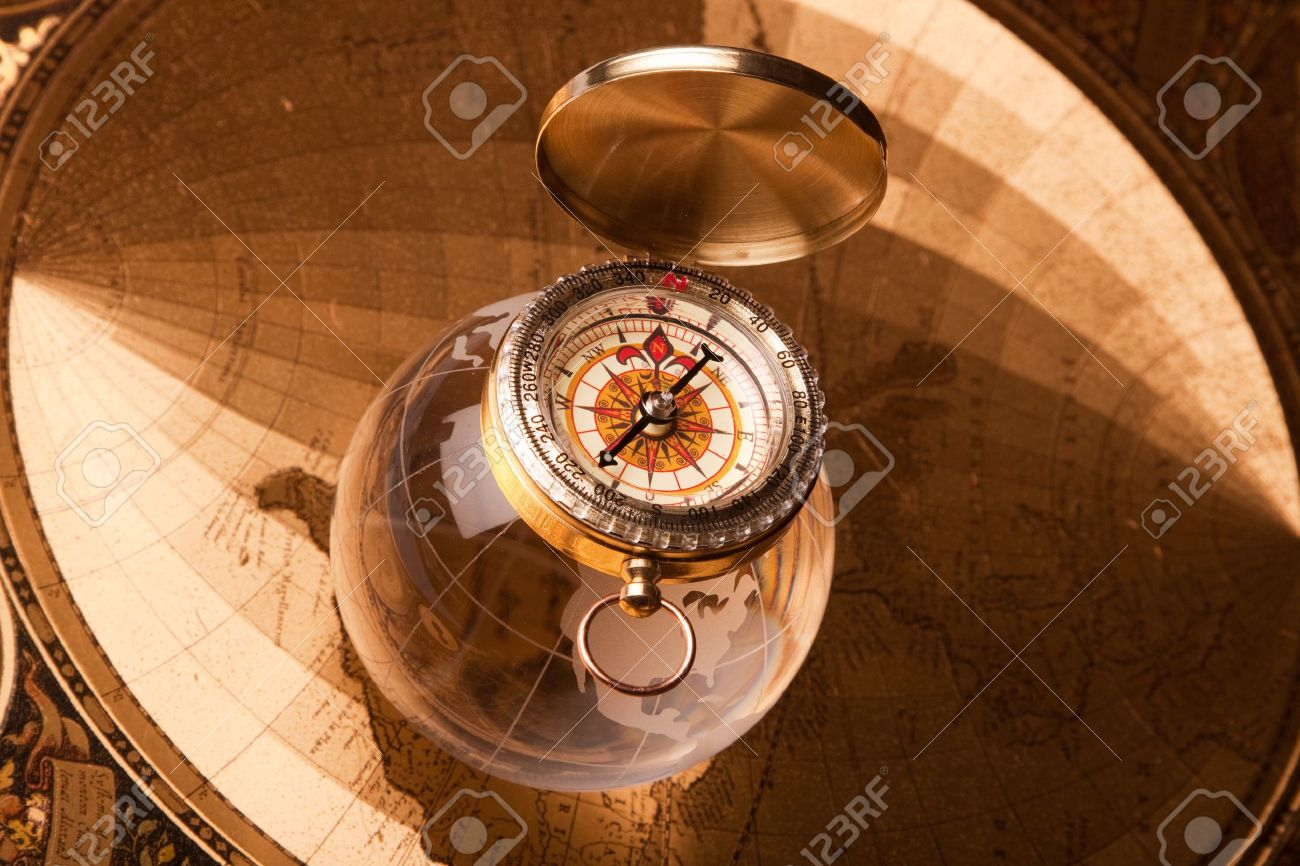 old map, compass and navigation equipment Stock Photo - 7119827