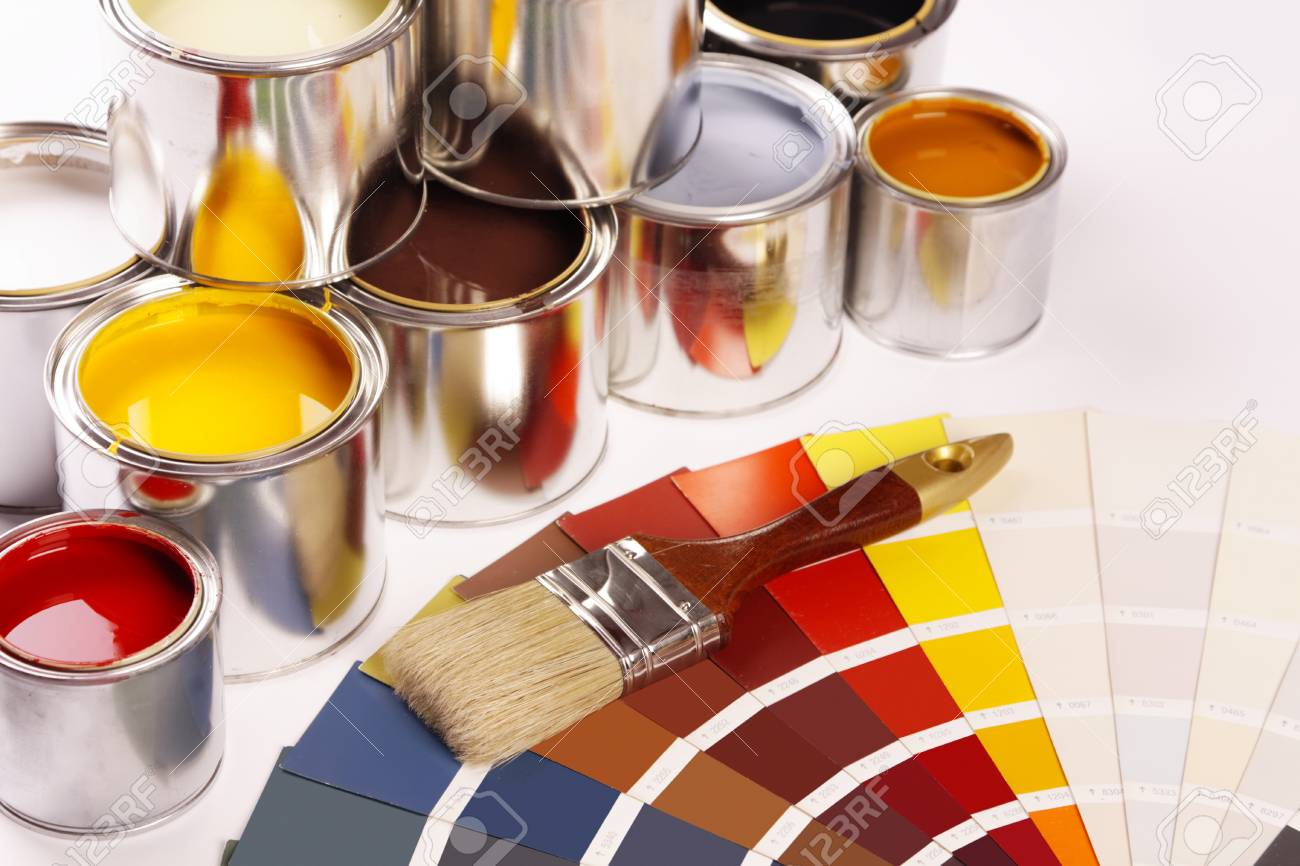 Paints and color picker Stock Photo - 8701221