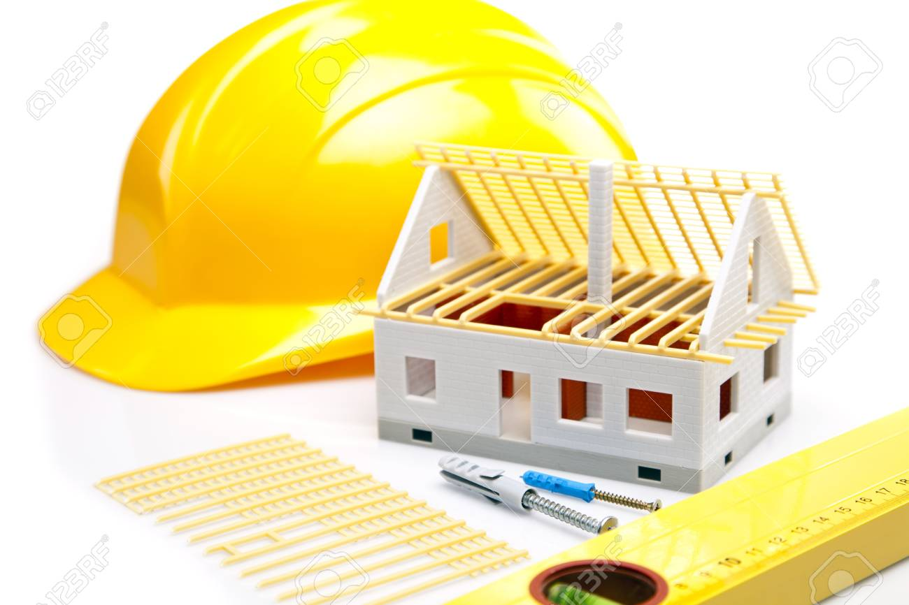Construction plans with helmet and drawing tools on blueprints Stock Photo - 11600022