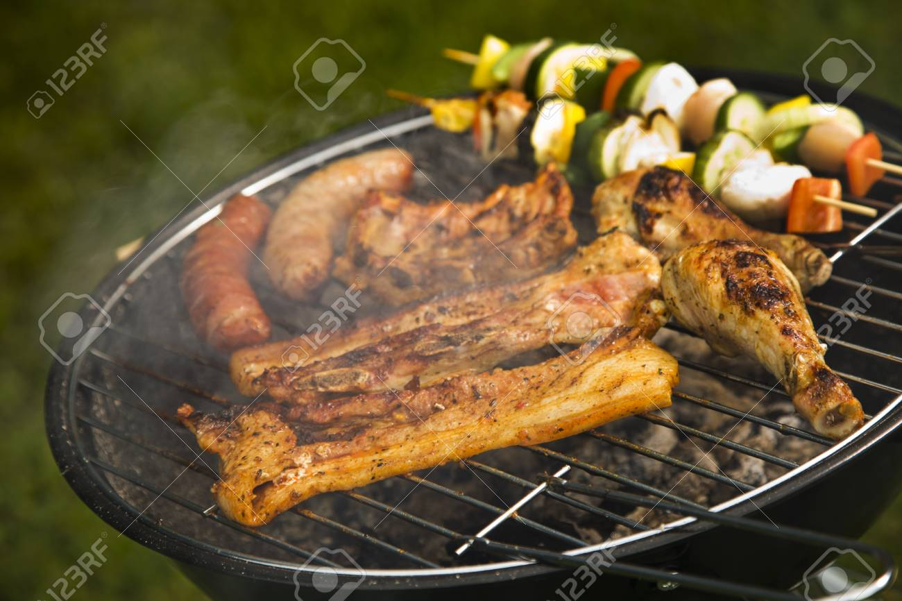 Barbeque In The Garden, Really Tasty Dinner Stock Photo, Picture And ...