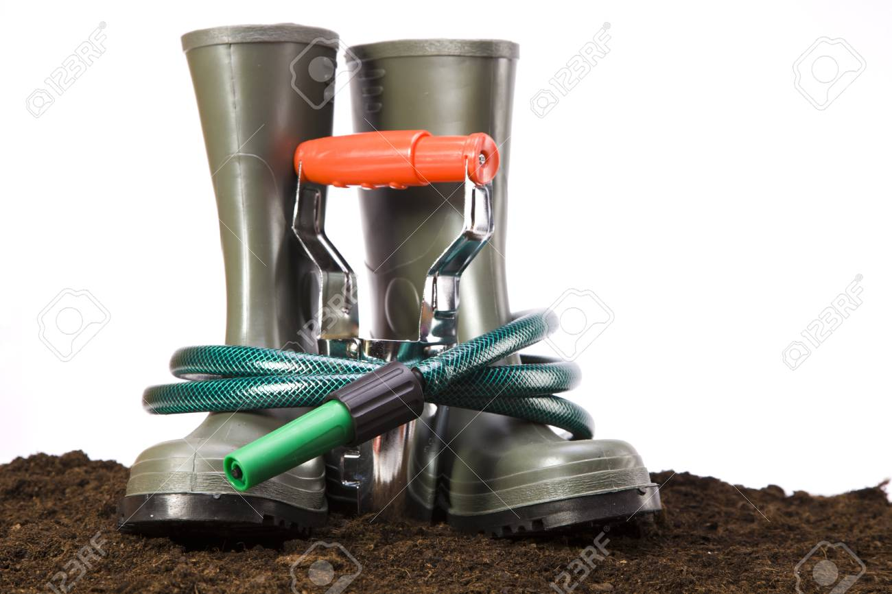 Flowers and garden tools isolated on white backgroud Stock Photo - 13798068