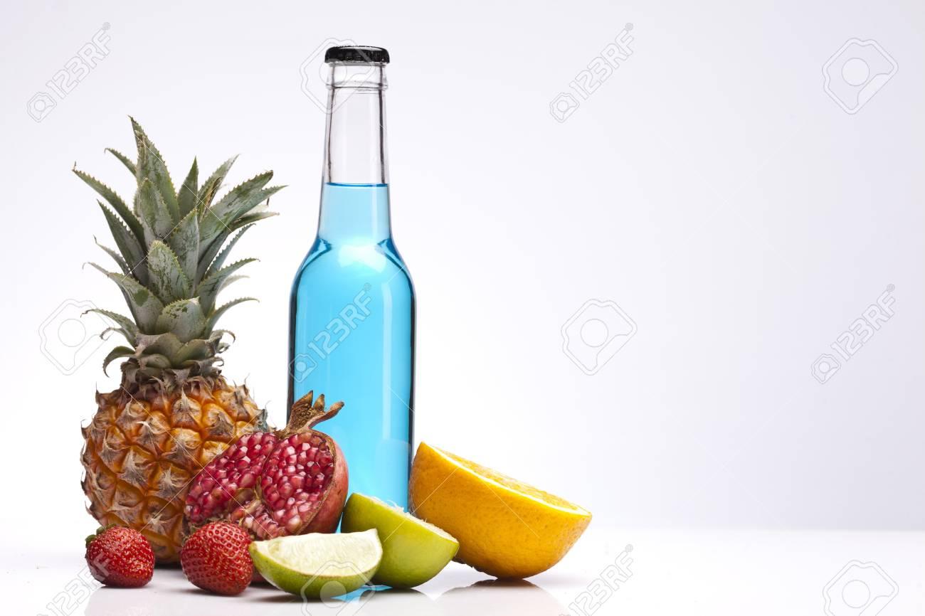 Exotic alcohol drinks set with fruits isolated on white background Stock Photo - 14950930