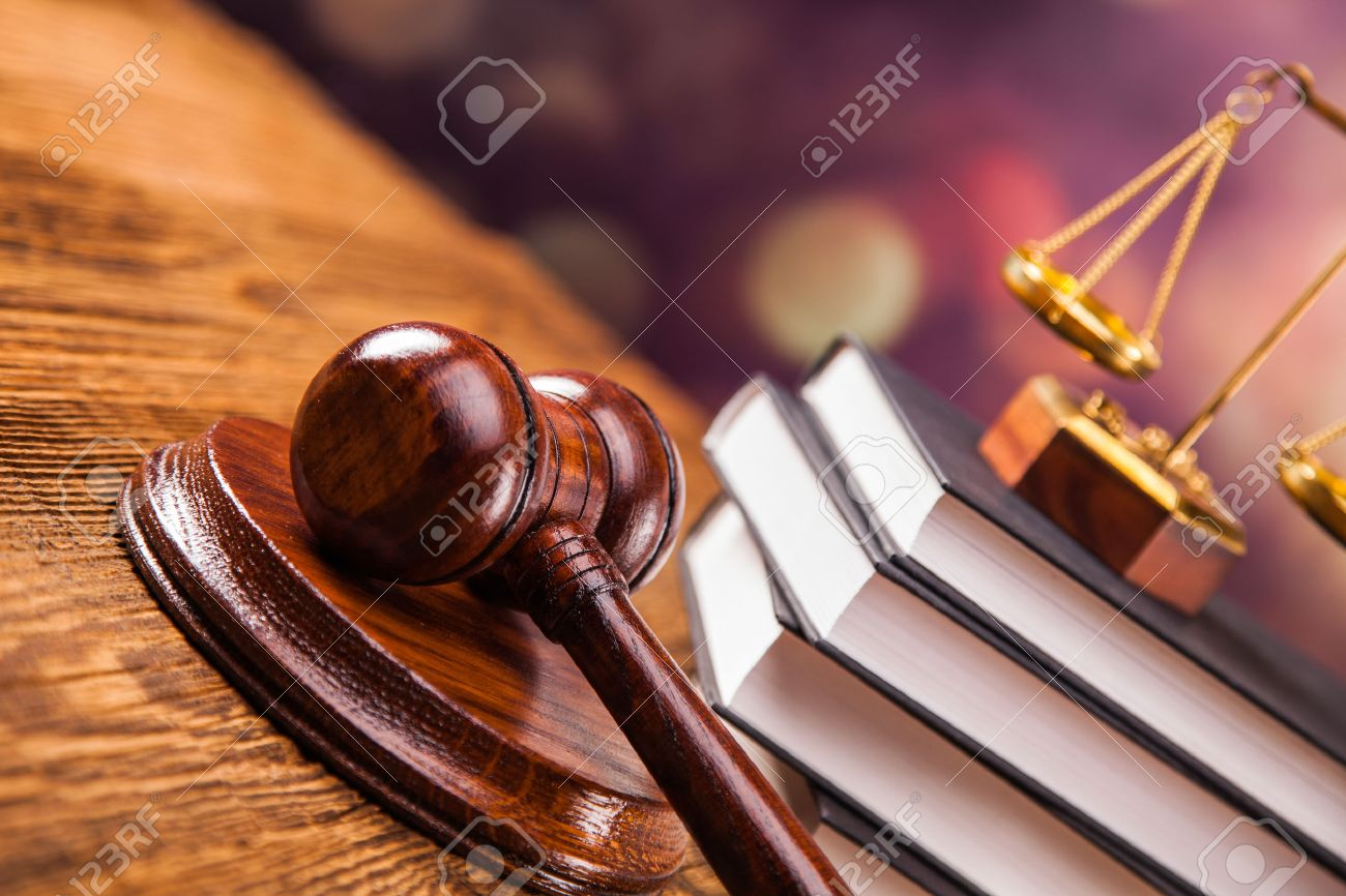 Mallet, legal code and scales of justice. Law concept, studio shots - 22799258