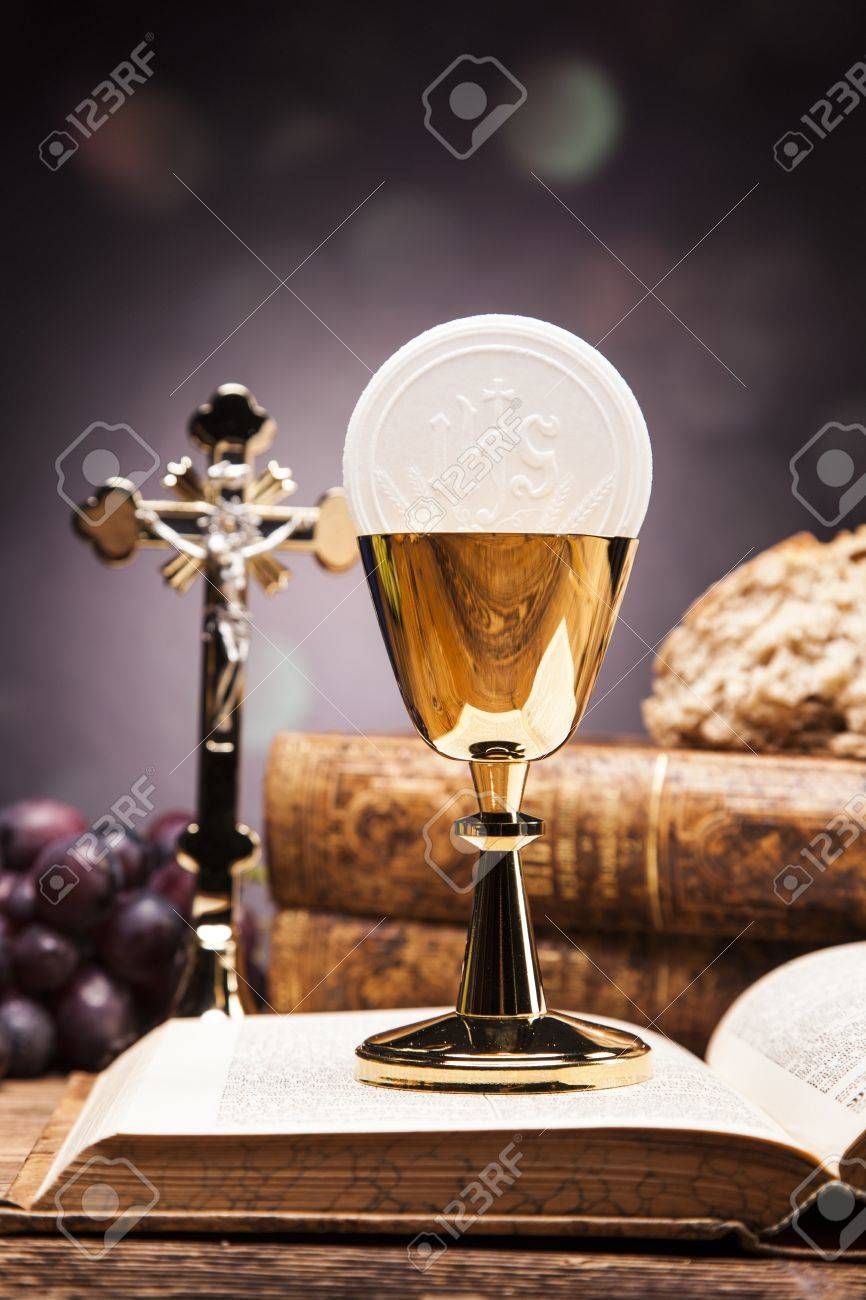 Sacred objects, bible, bread and wine. - 34227531