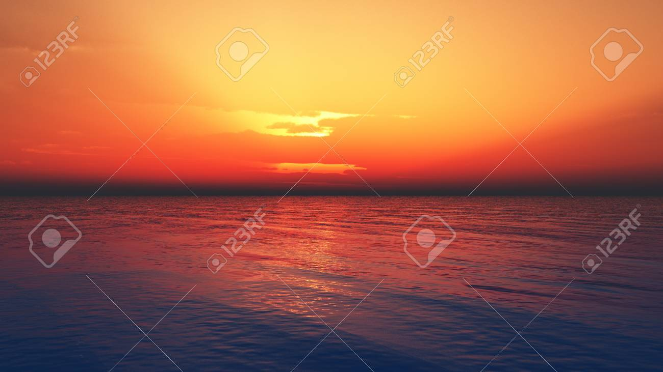 Computer generated image of a sunset over the ocean Stock Photo - 8910154