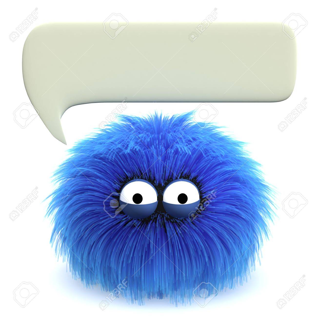 Furbul CG character with a blank speech bubble above his head Stock Photo - 10734911