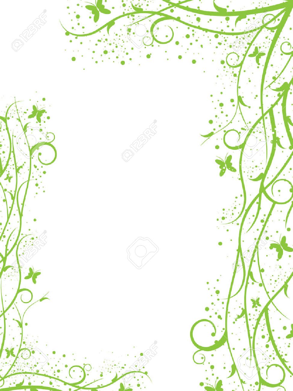 Abstract green spring-summer border with butterflies Stock Vector - 5012515