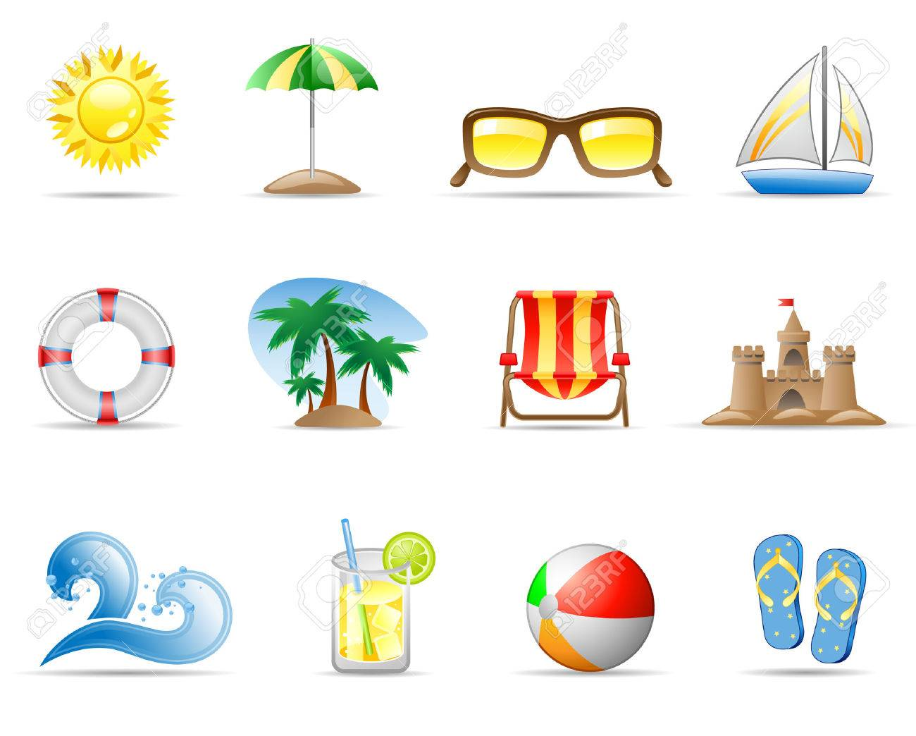 Set of icons on a theme Sun Sea and Beach Stock Vector - 5333505