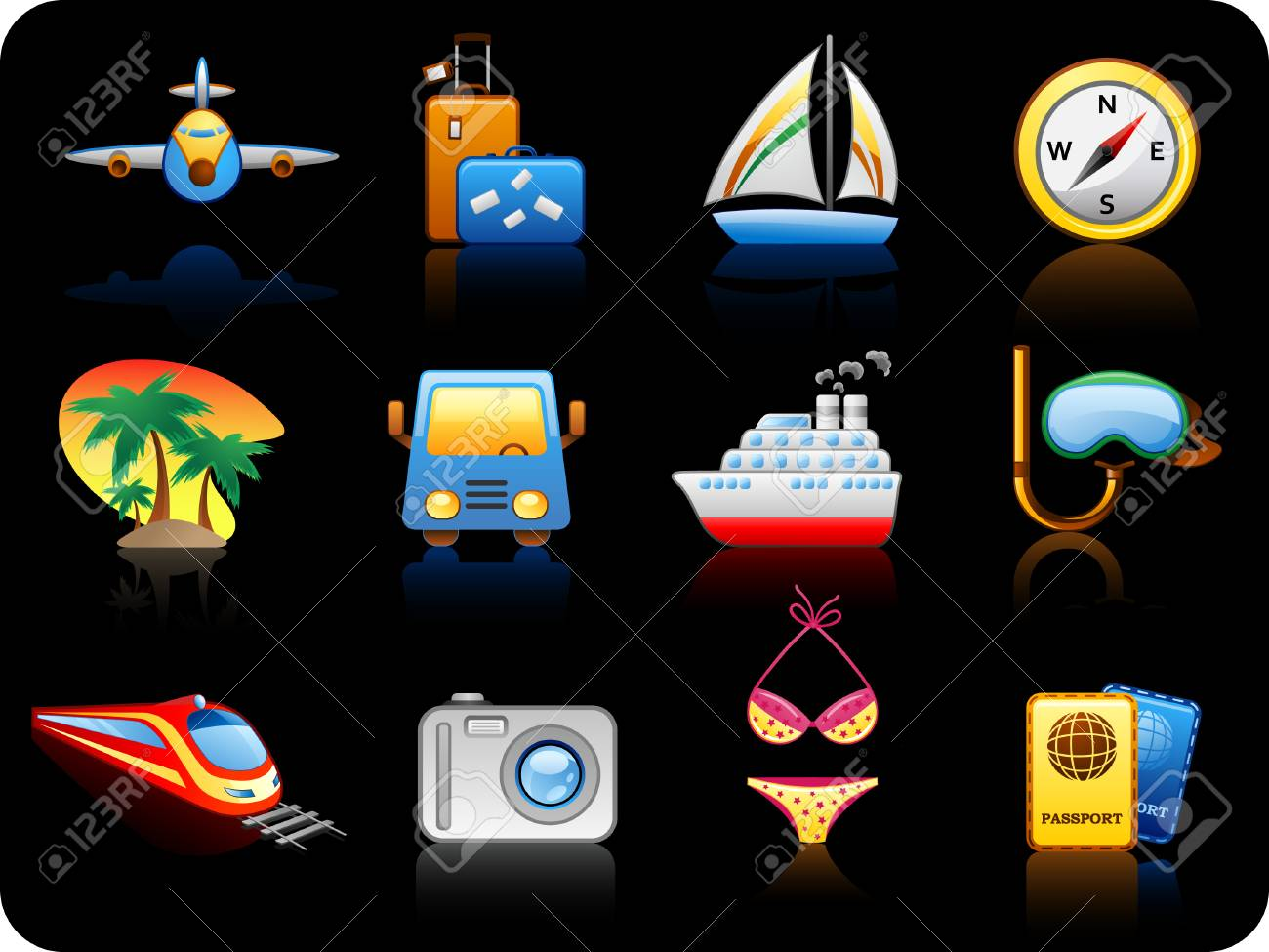 Set of icons on a theme Travel_black background Stock Vector - 5532699