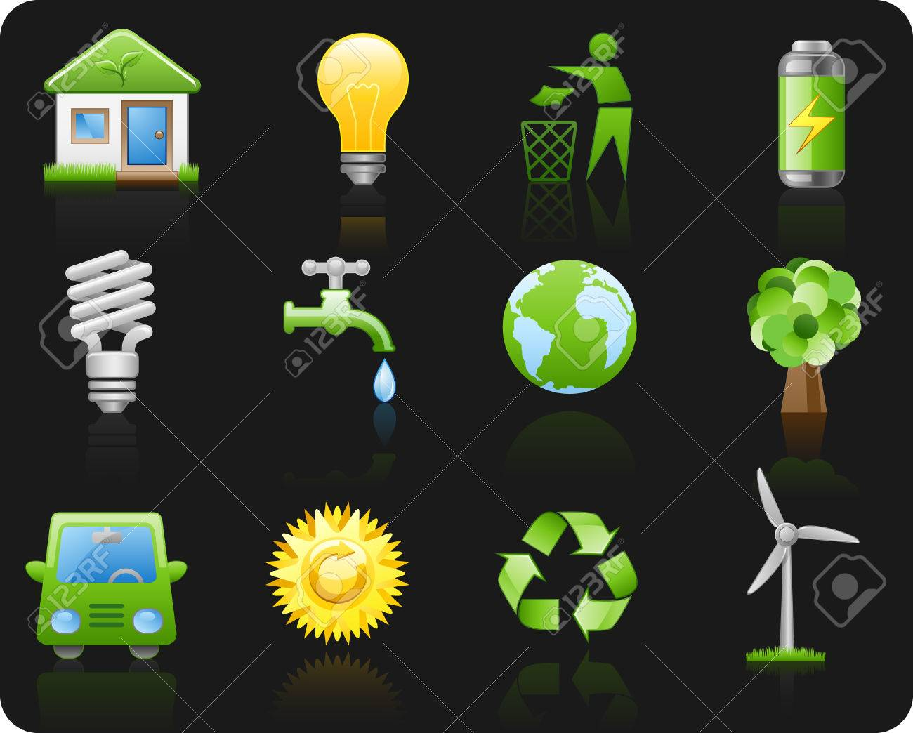 Icon set on a theme Environment_black background Stock Vector - 5599587
