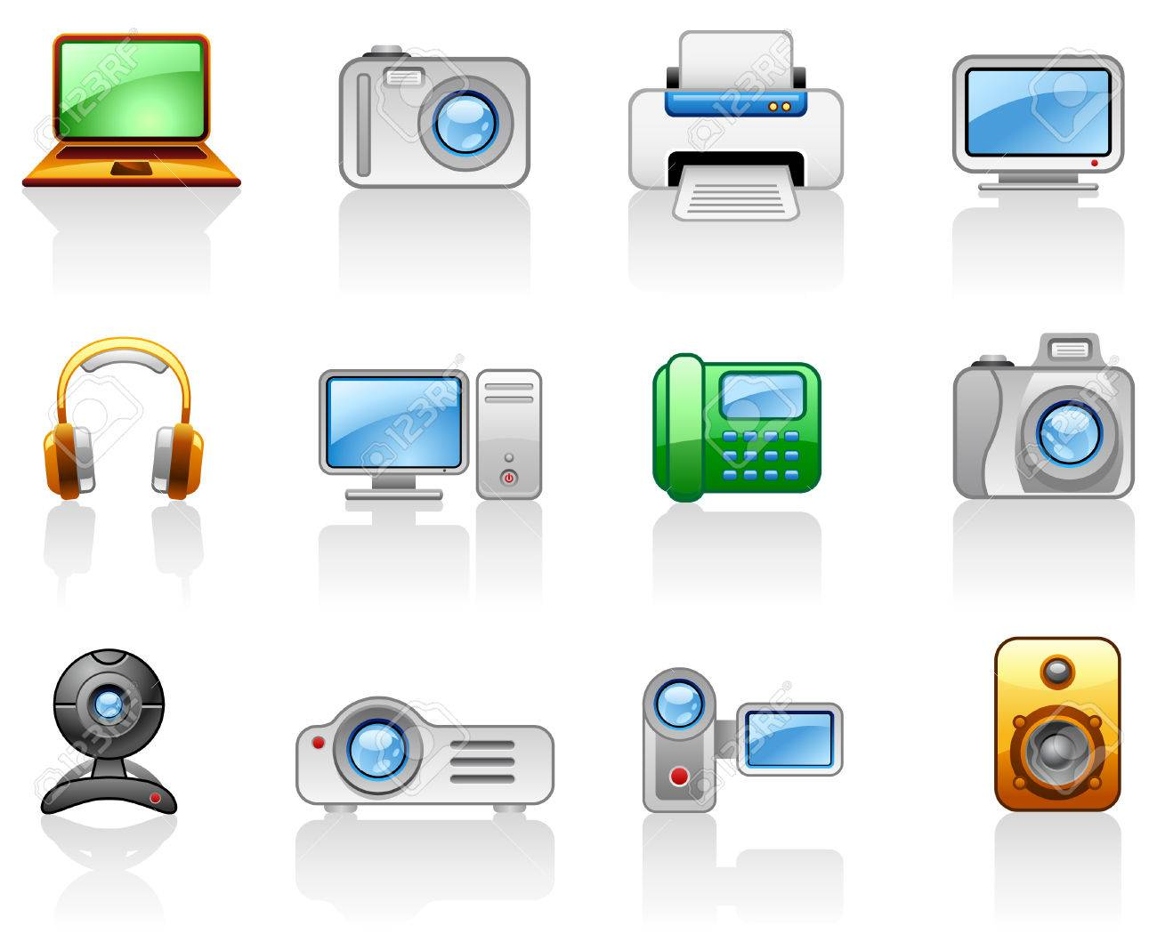 Set of icons on a theme Electronics_Computers_ Multimedia Stock Vector - 5612474