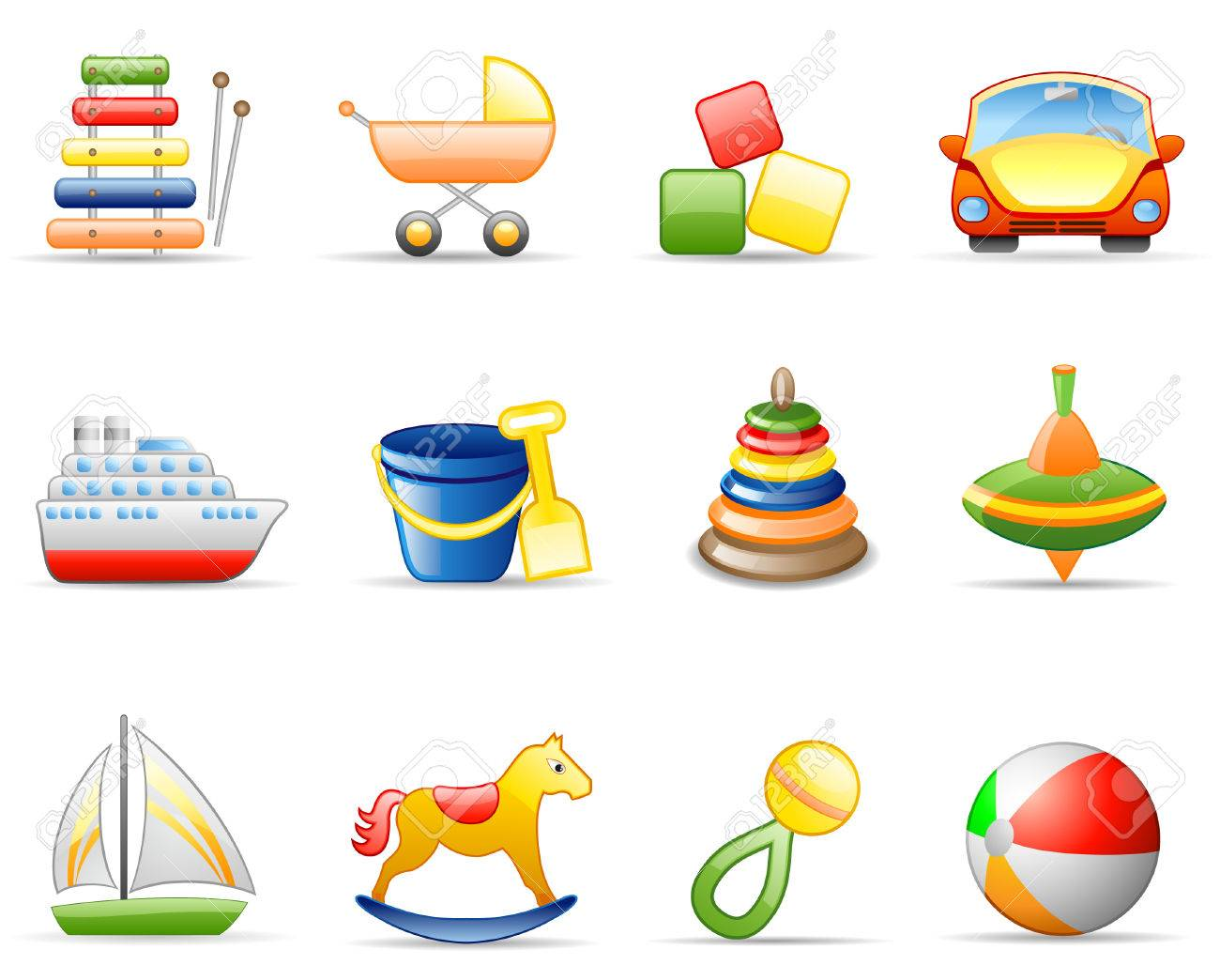 Icons set on a theme Toys Stock Vector - 5688873