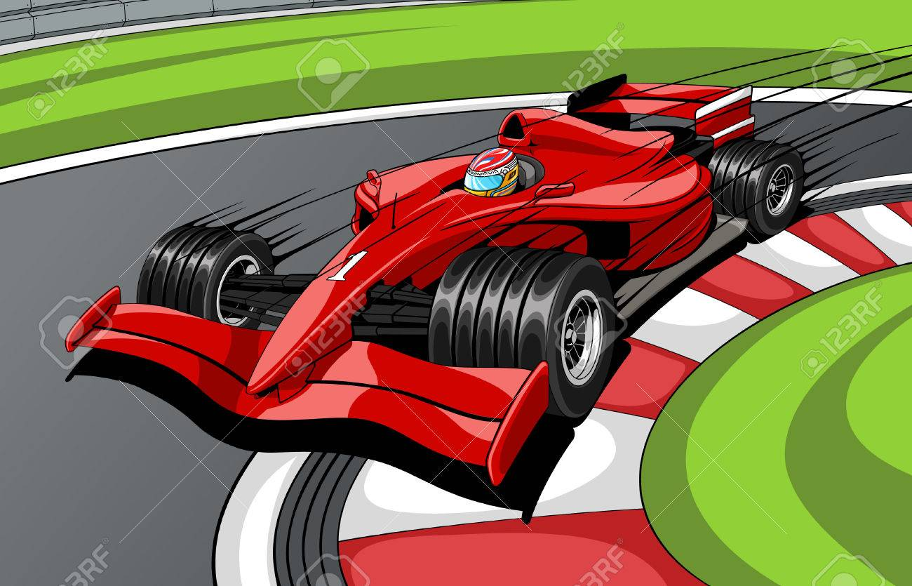 The red car the formula 1 on road. In movement. Stock Vector - 5727720