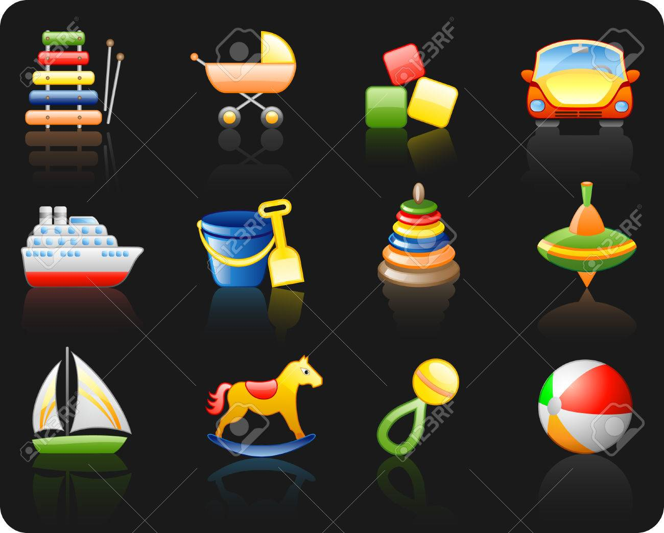 Icons set on a theme Toys_black background Stock Vector - 5815914